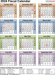 Template 7: Fiscal year calendar 2024 for PDF, portrait orientation, year at a glance, 1 page