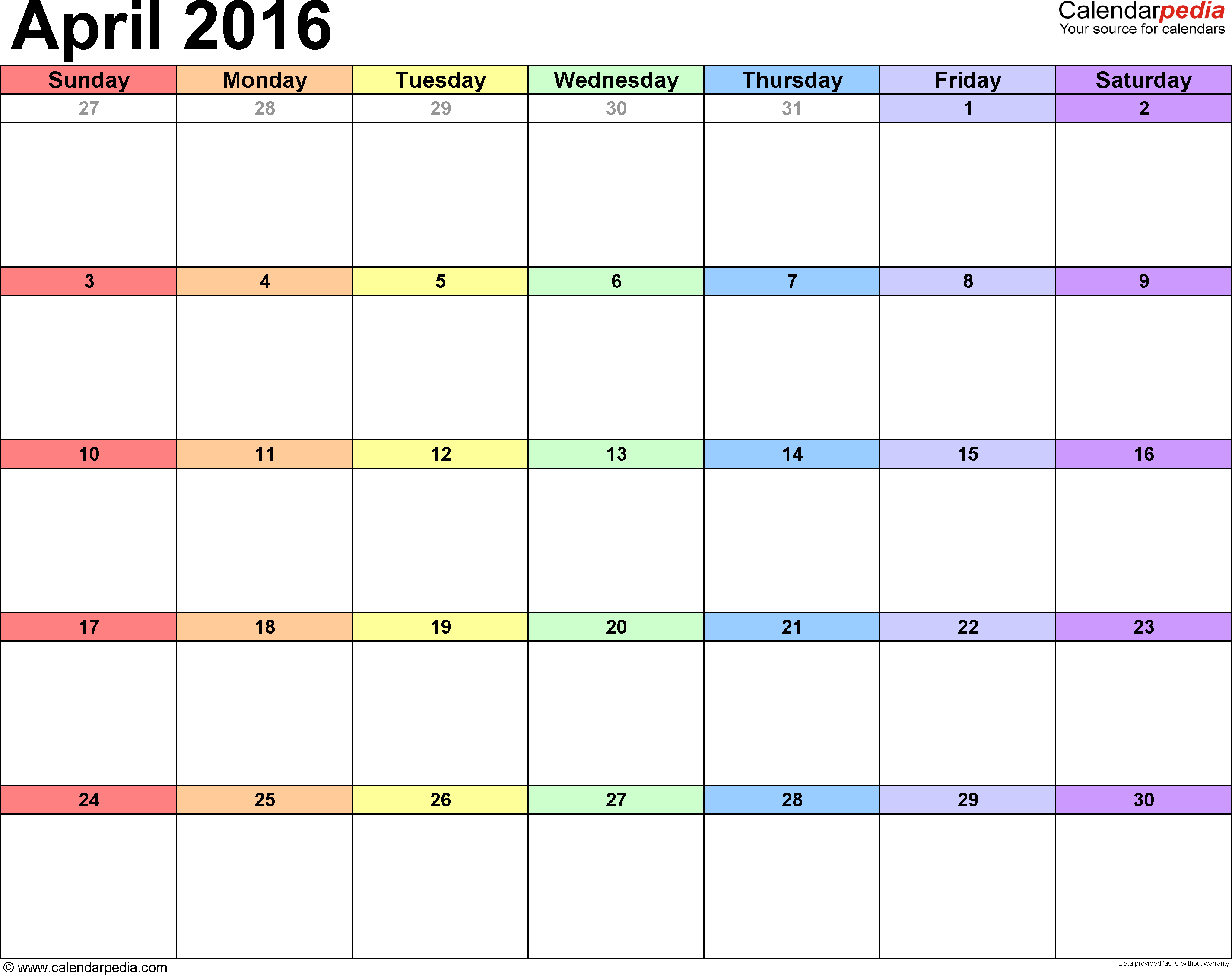 April 2016 calendar, landscape orientation, 'rainbow calendar', available as printable templates for Word, Excel and PDF