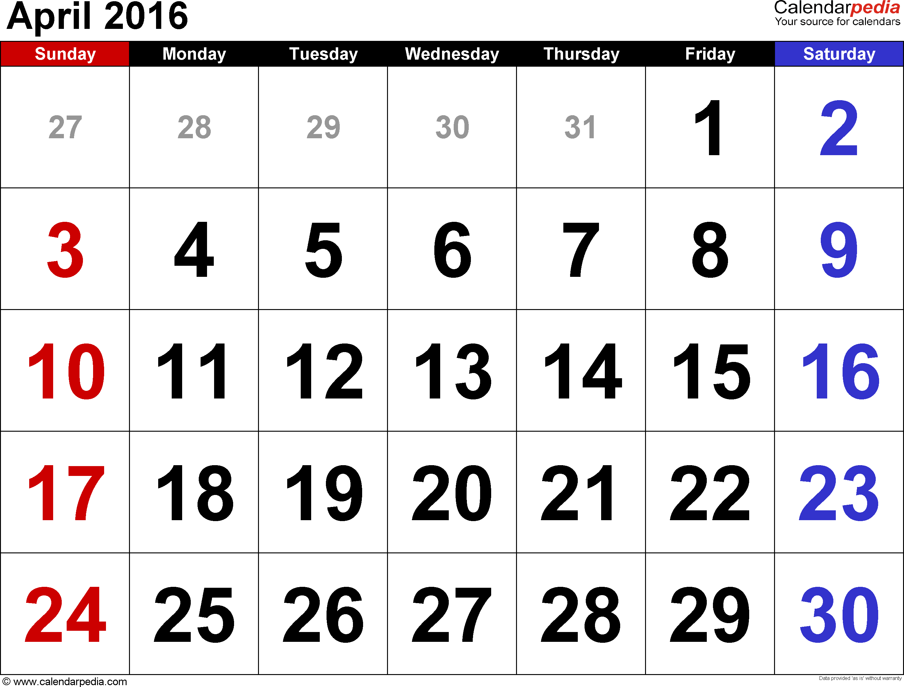 April 2016 calendar, landscape orientation, large numerals, available as printable templates for Word, Excel and PDF