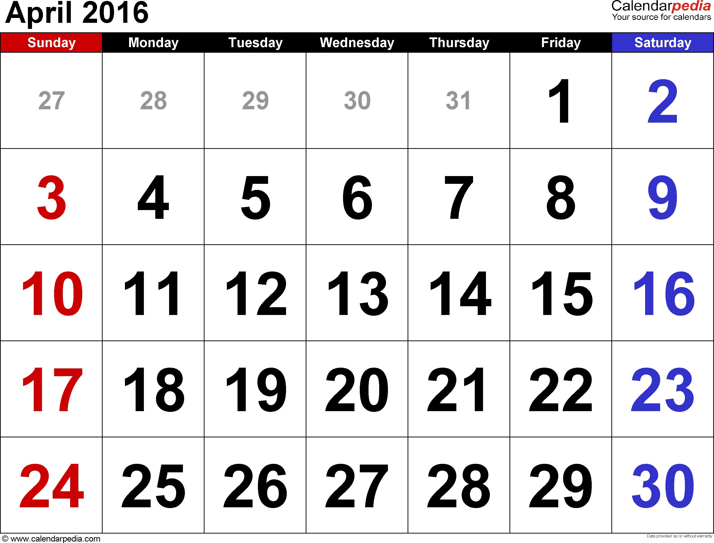 April 2016 calendar