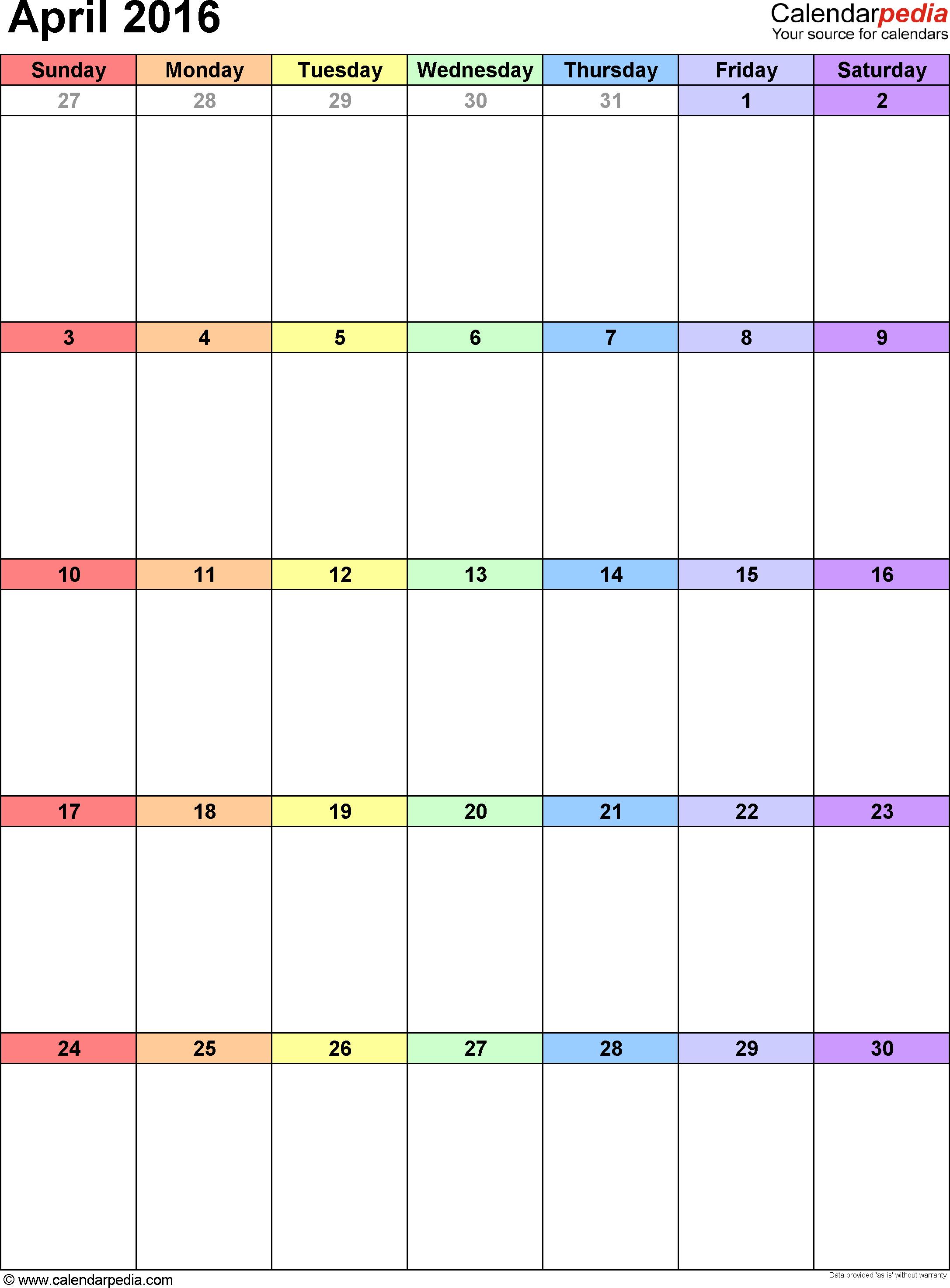 April 2016 calendar, portrait orientation, 'rainbow calendar', available as printable templates for Word, Excel and PDF