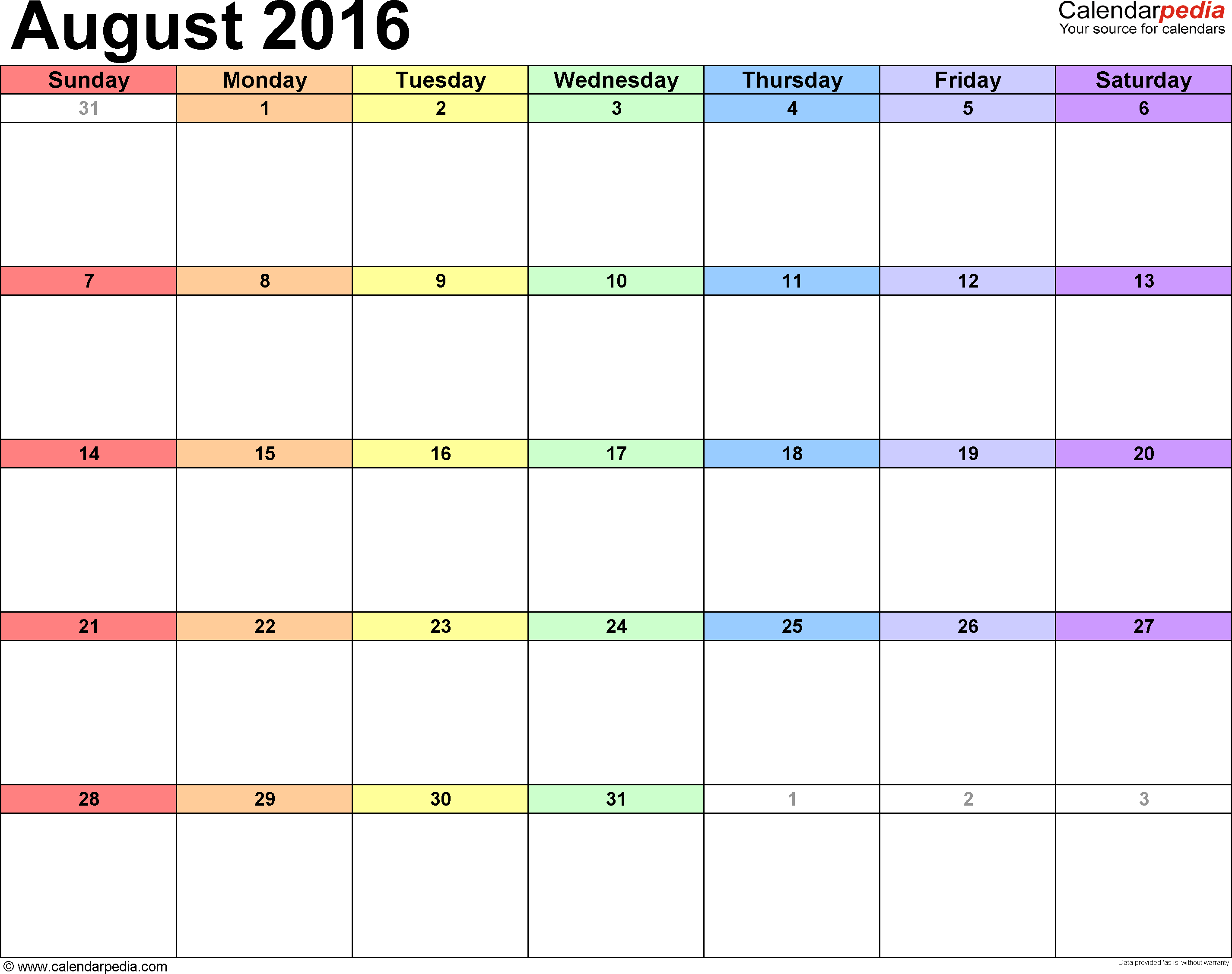 August 2016 Calendars for Word, Excel & PDF