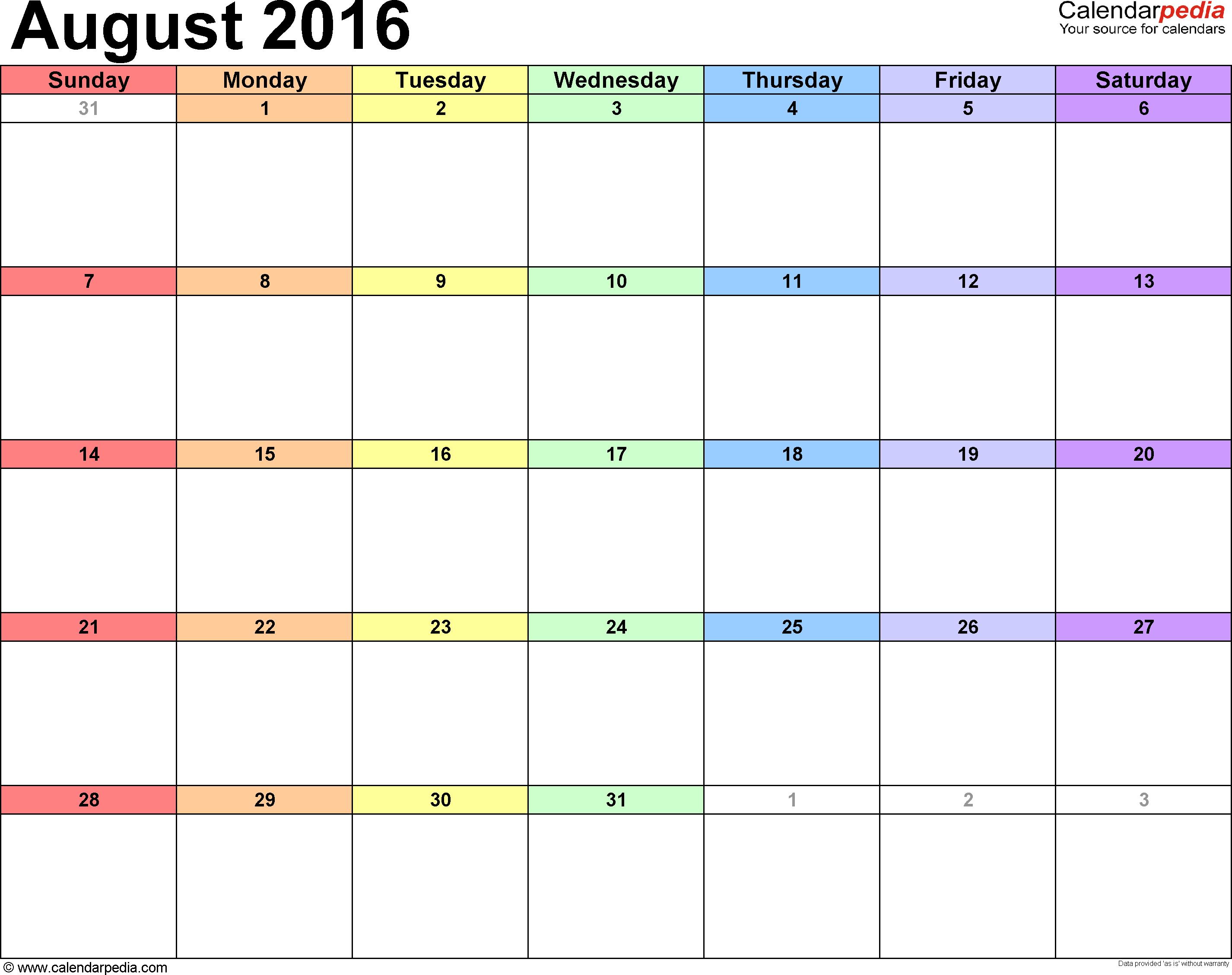 August 2016 calendar, landscape orientation, 'rainbow calendar', available as printable templates for Word, Excel and PDF