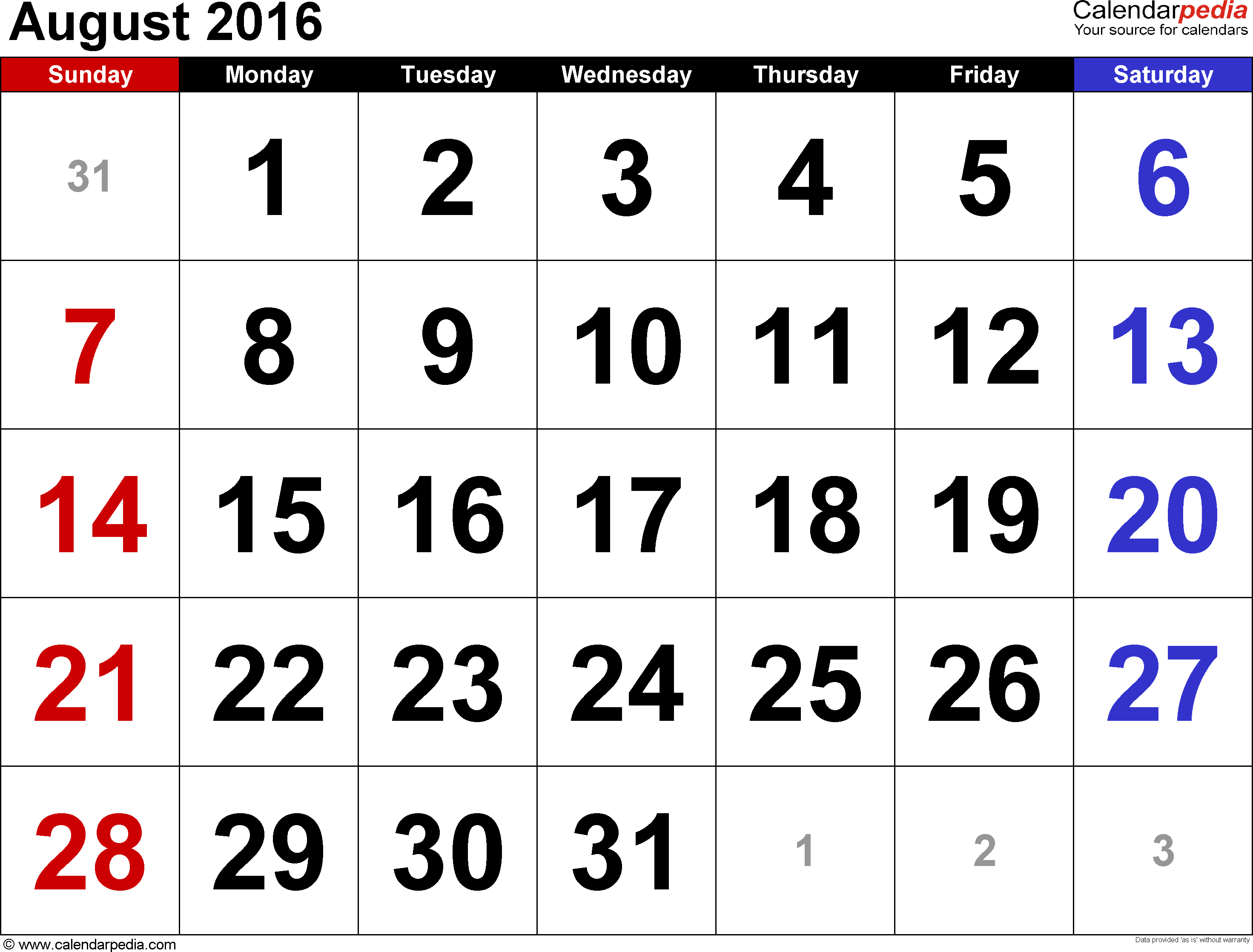 August 2016 calendar, landscape orientation, large numerals, available as printable templates for Word, Excel and PDF