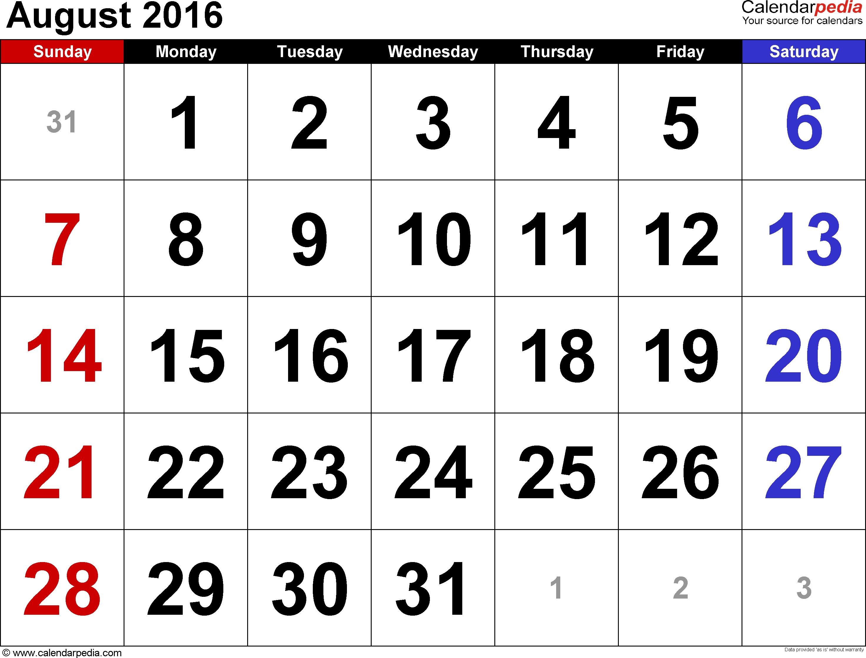 august 2016 calendars for word excel pdf. Black Bedroom Furniture Sets. Home Design Ideas