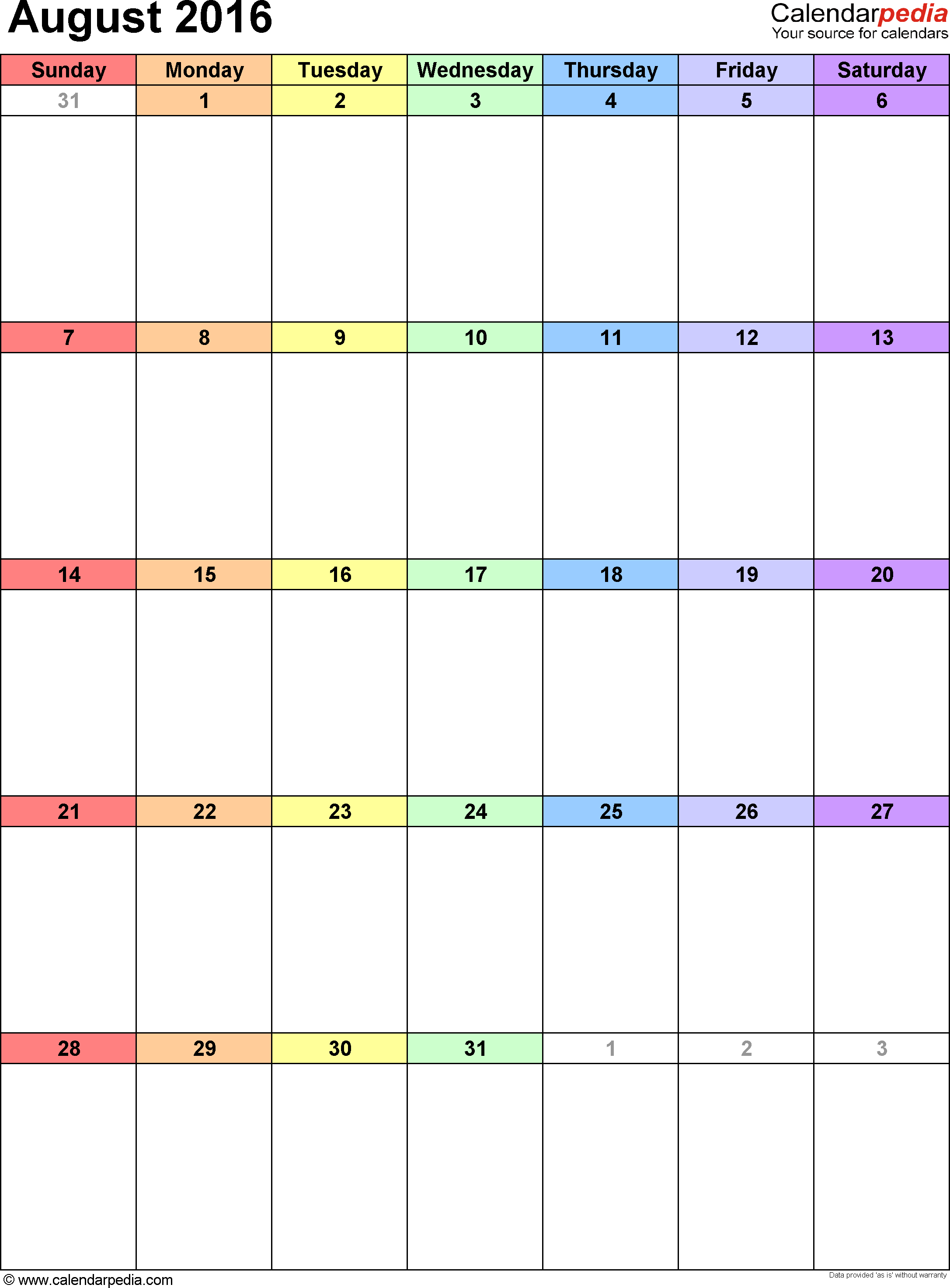 August 2016 calendar, portrait orientation, 'rainbow calendar', available as printable templates for Word, Excel and PDF