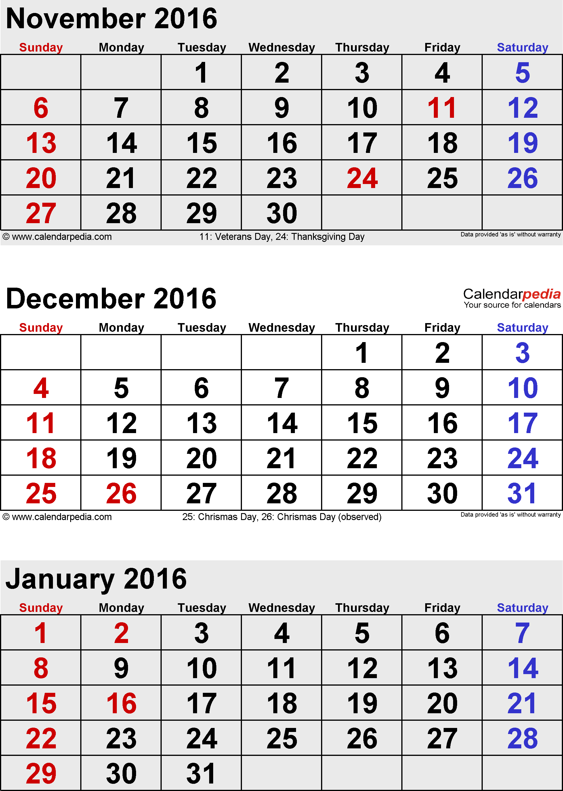 3 months calendar December 2015 / January/February 2016 in portrait orientation