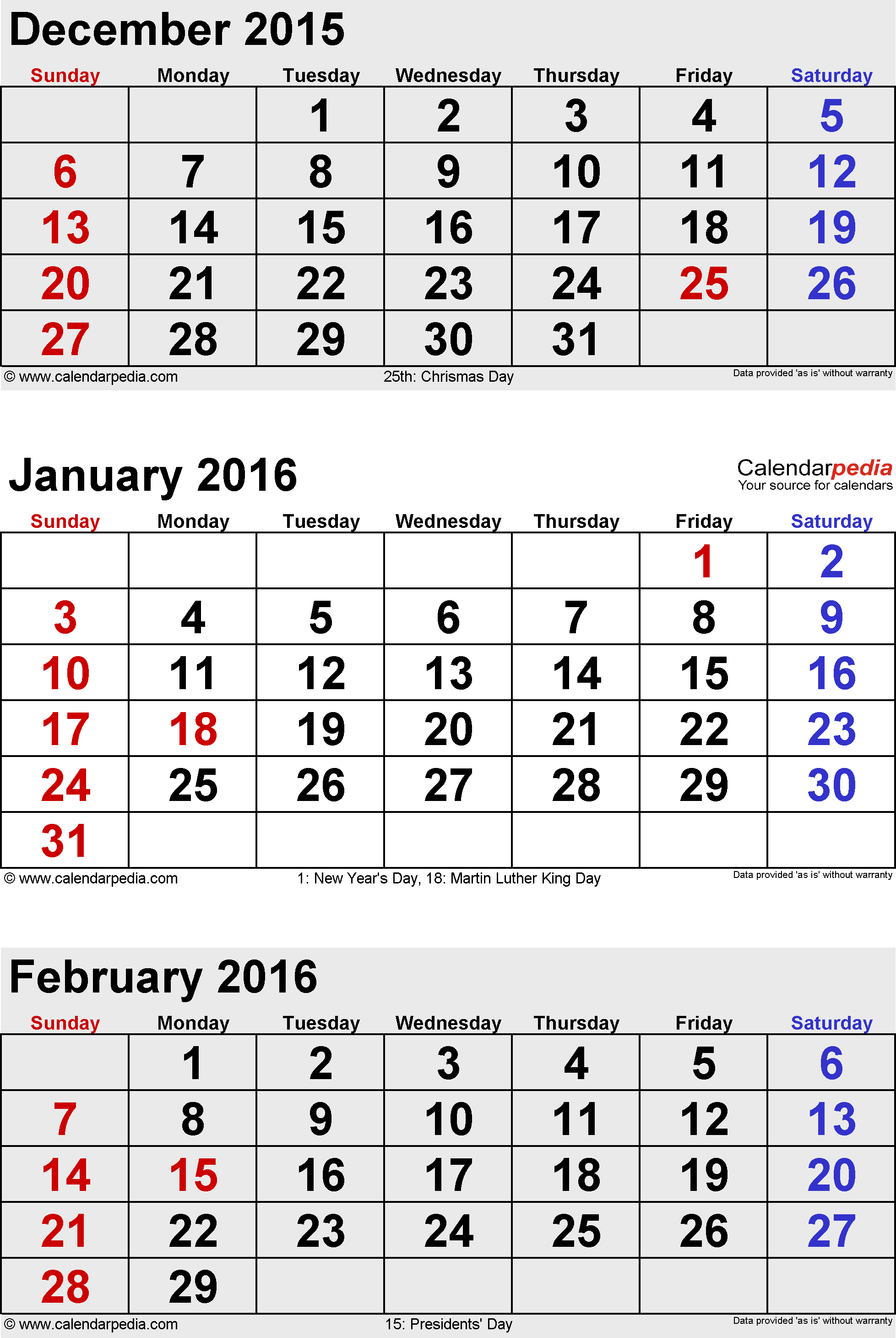 3 months calendar January/February/March 2016 in portrait orientation