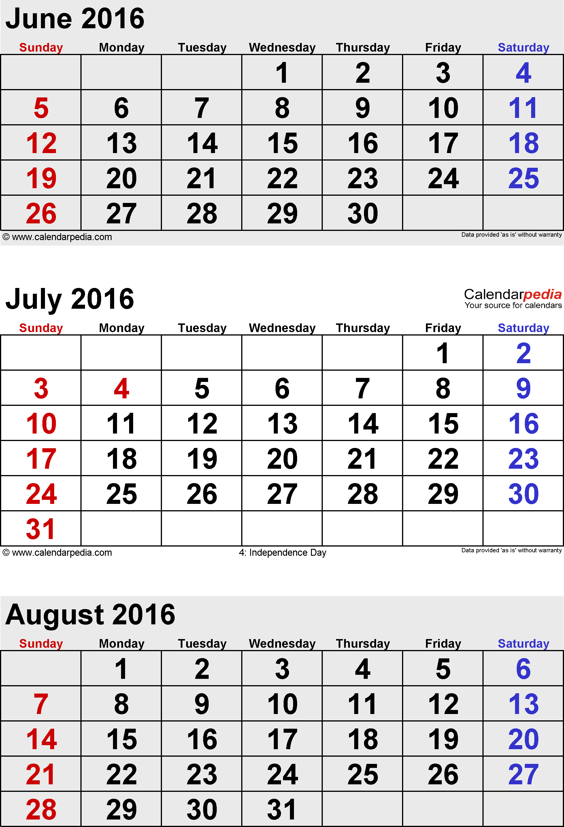 3 months calendar July/August/September 2016 in portrait format