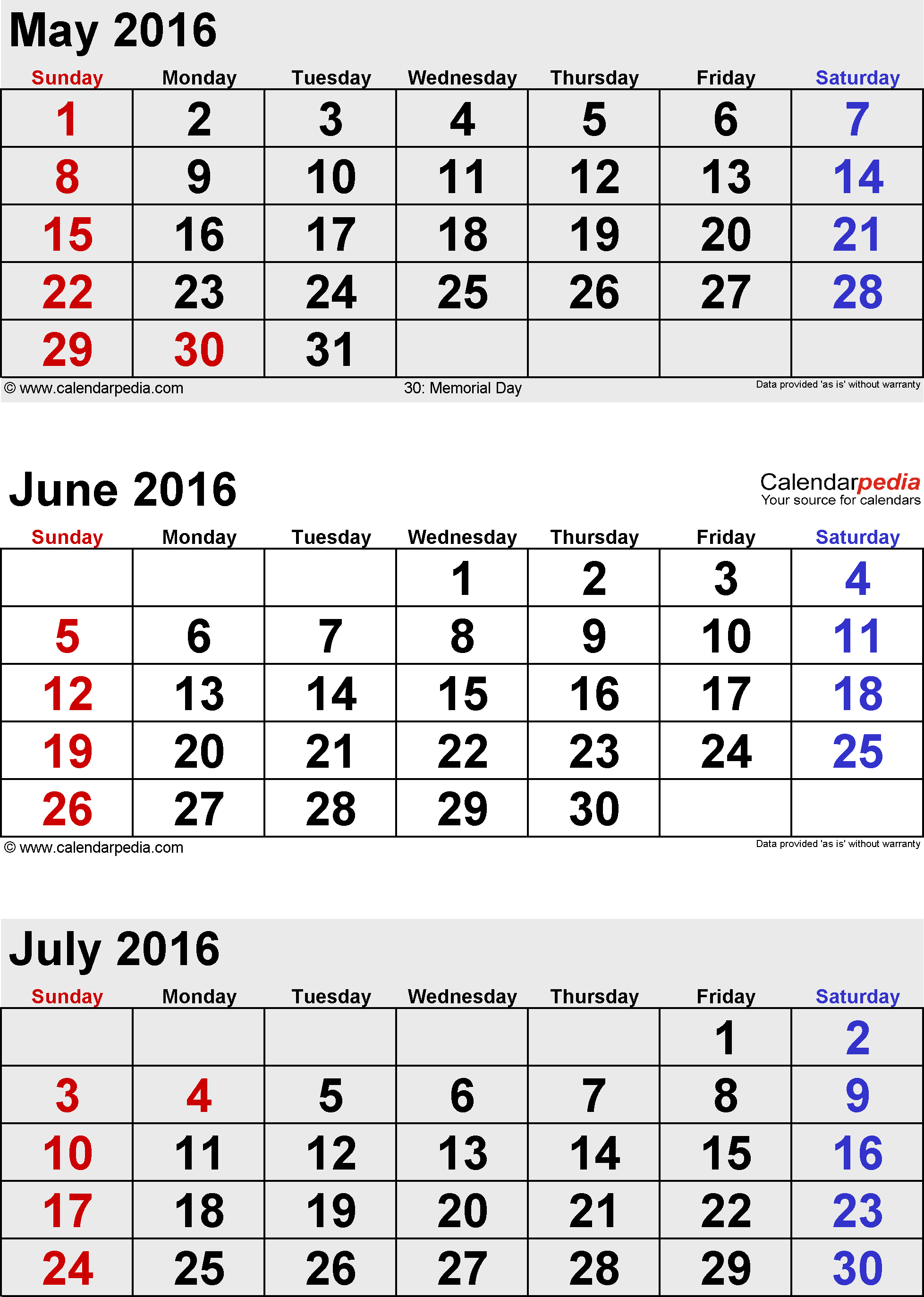 3 months calendar June/July/August 2016 in portrait format