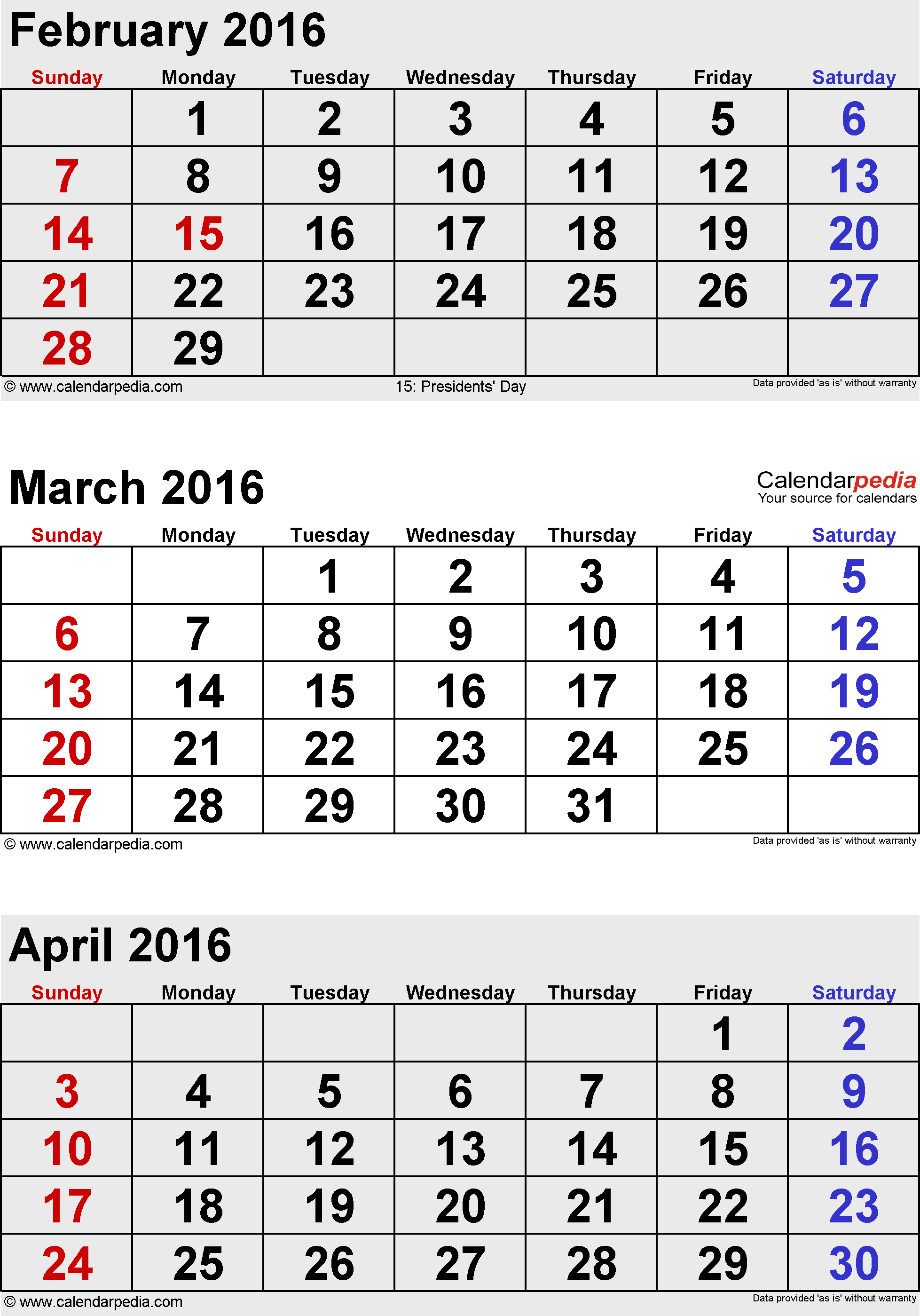 3 months calendar March/April/May 2016 in portrait format