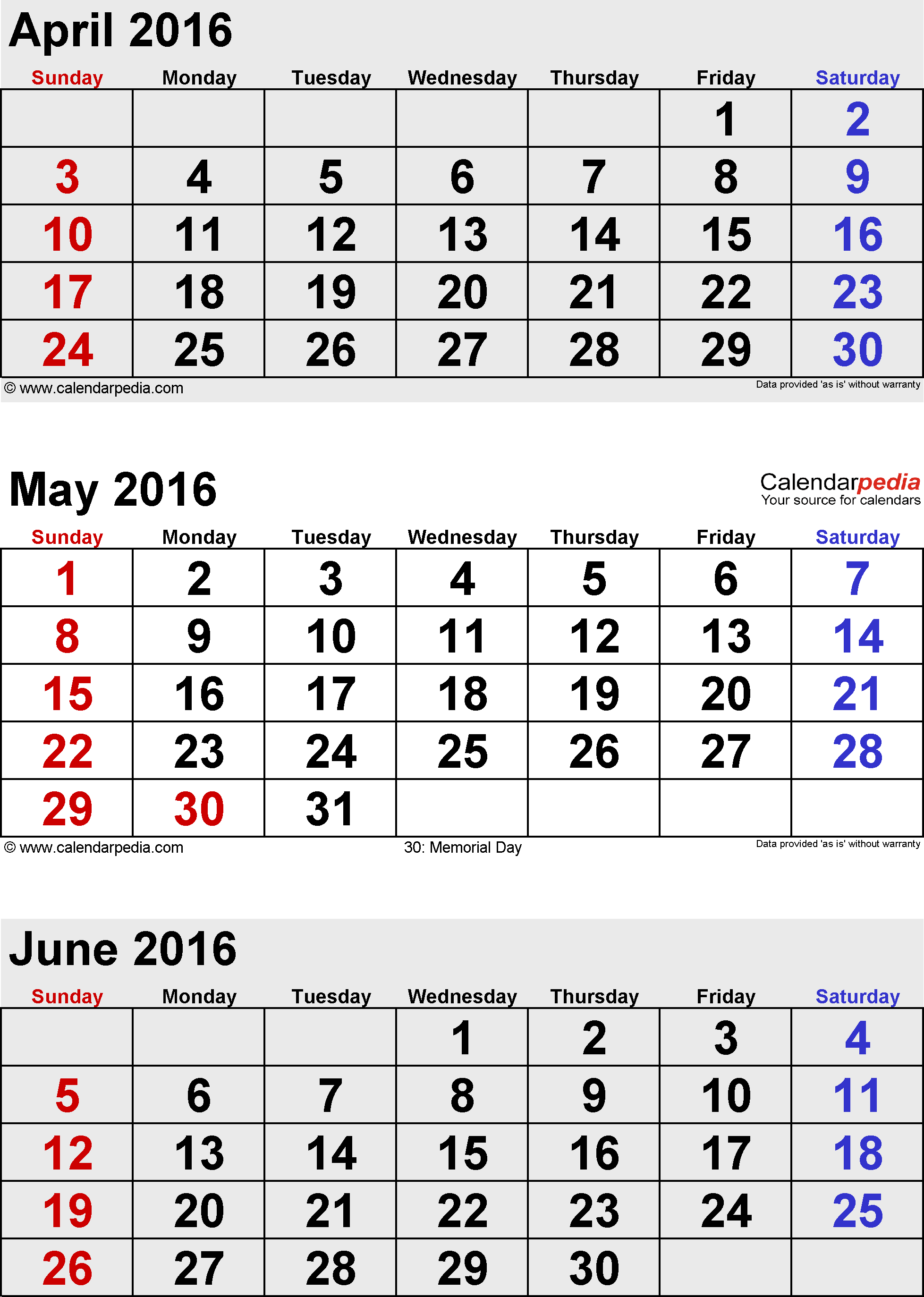 3 months calendar May/June/July 2016 in portrait format