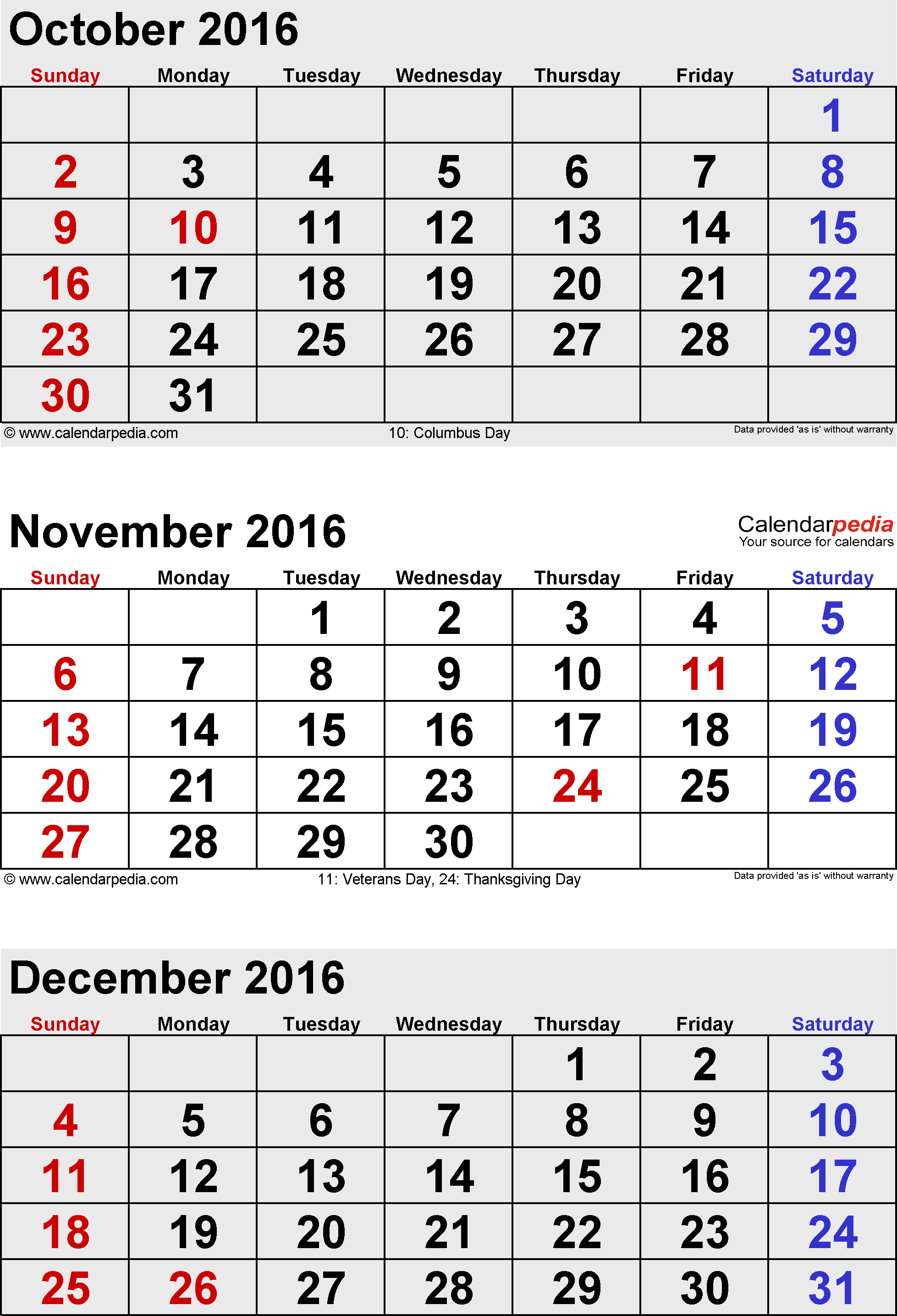 3 months calendar November/December 2016 & January 2017 in portrait format