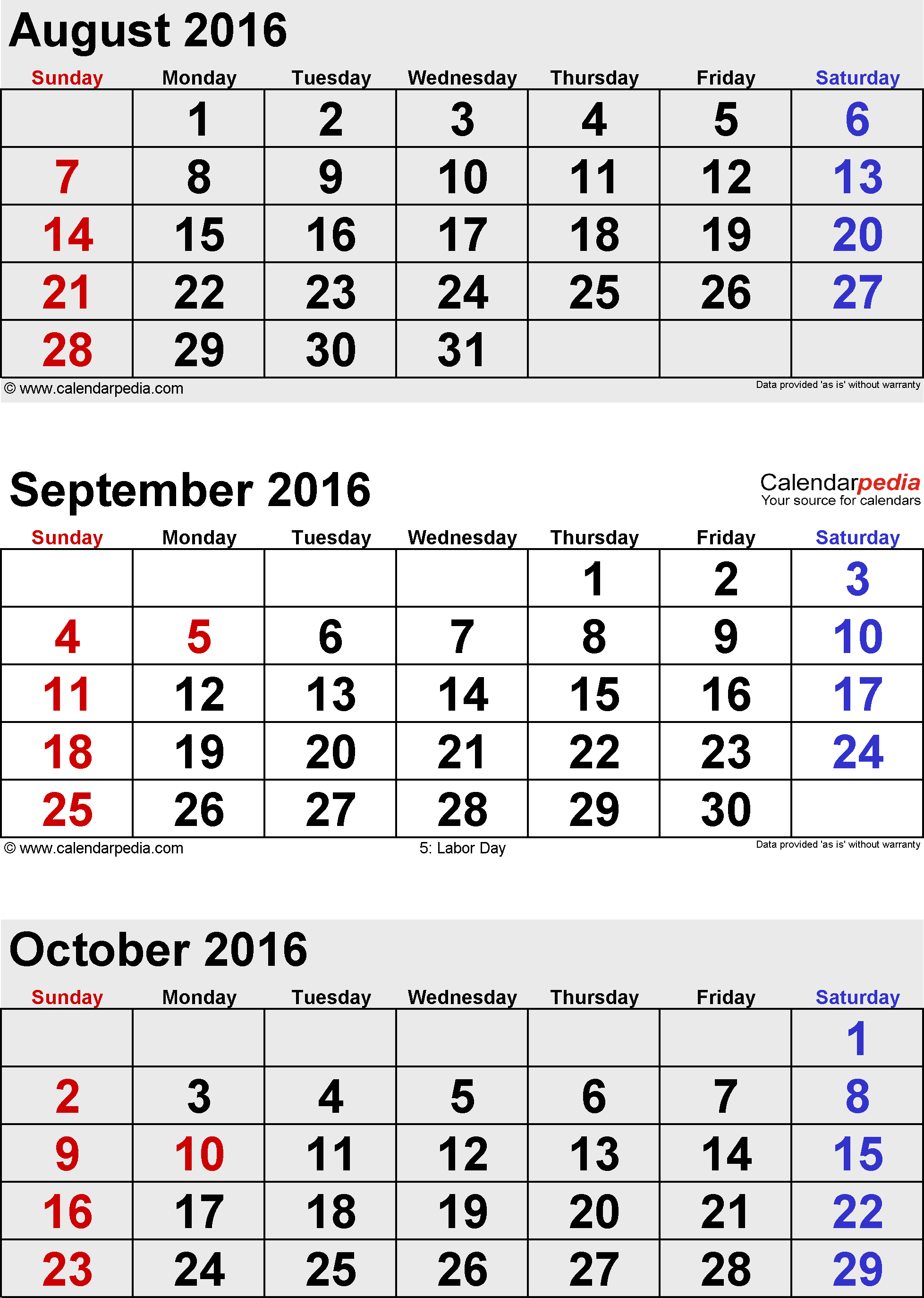 3 months calendar September/October/November 2016 in portrait format