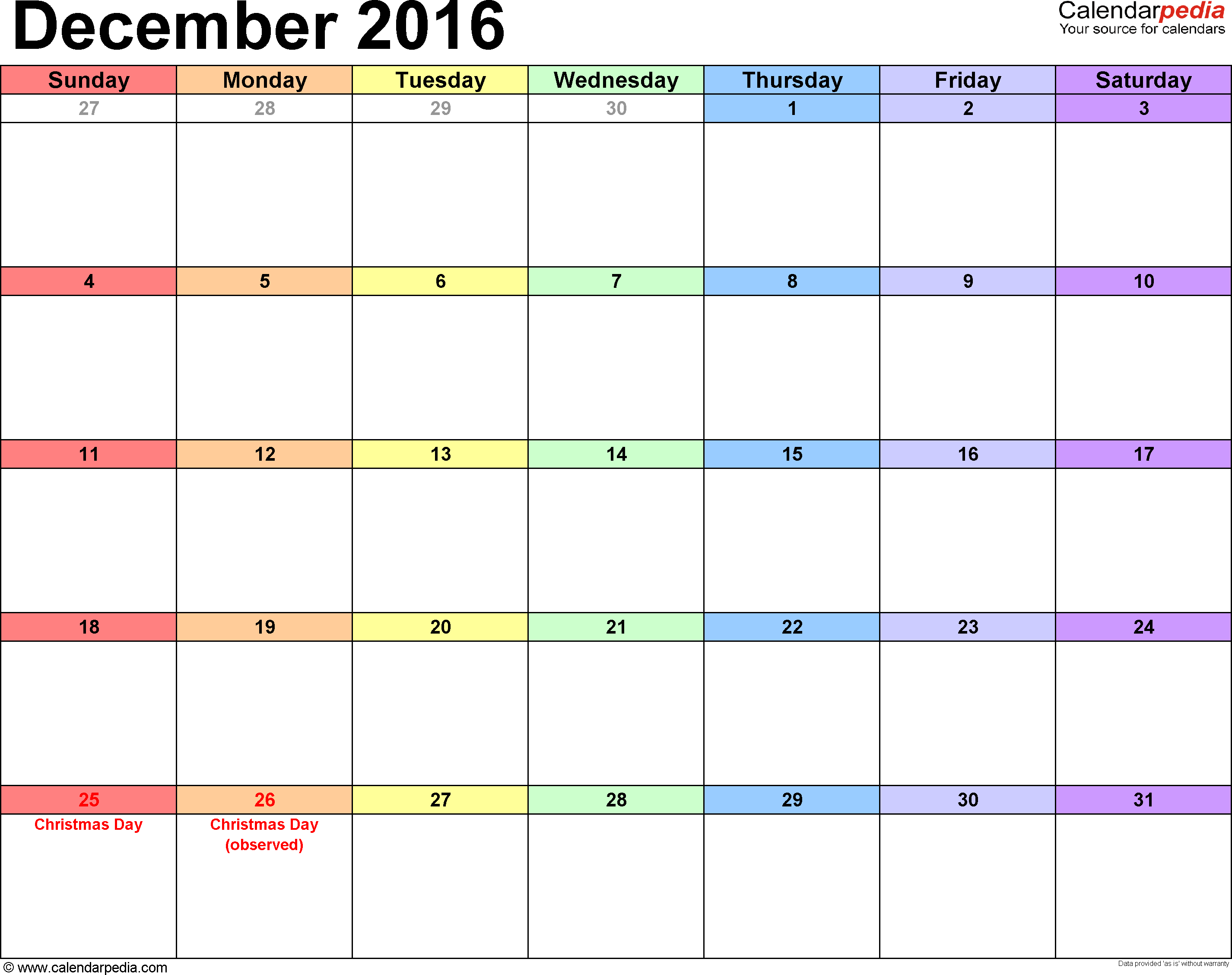 December 2016 Calendars For Word Excel Pdf