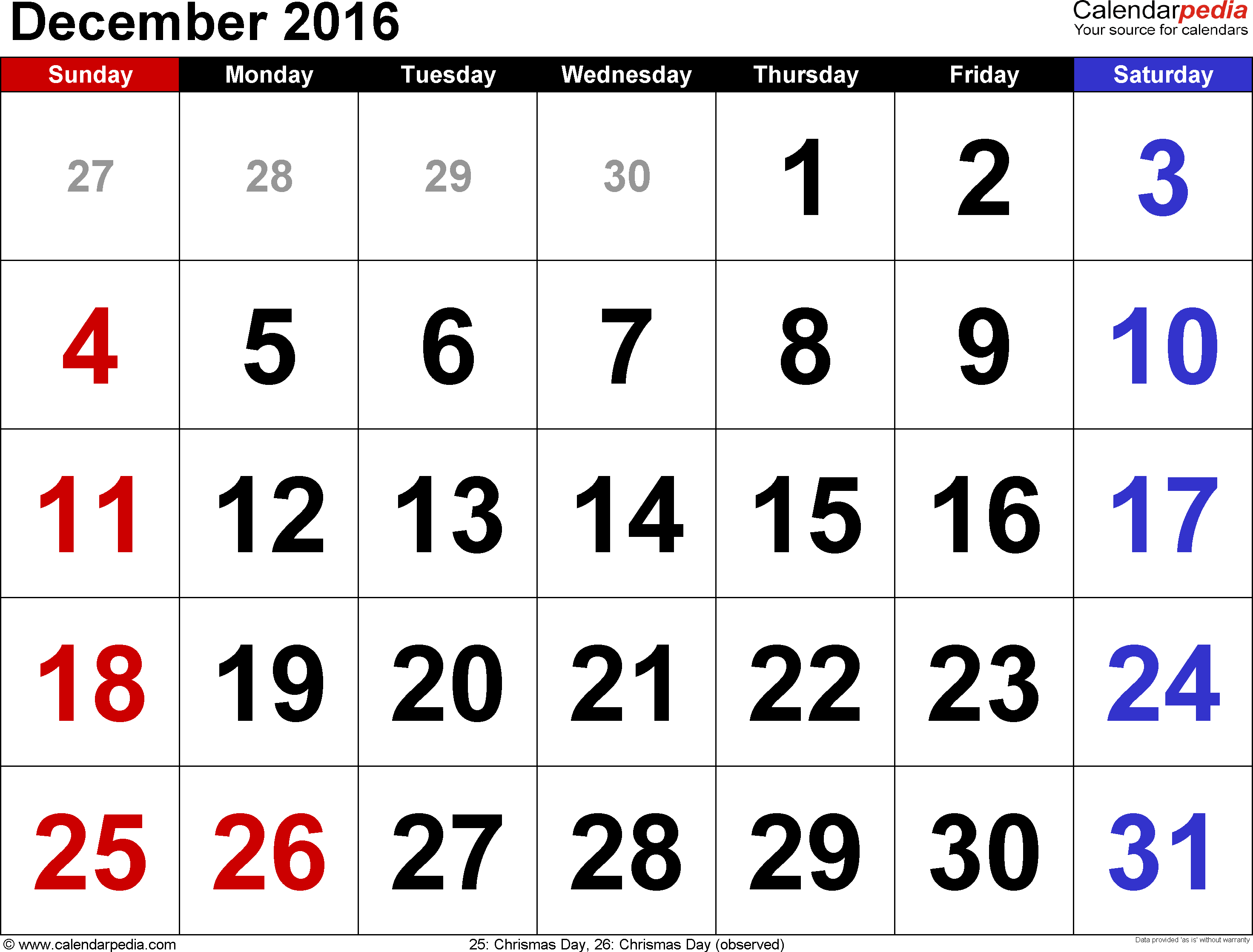 December 2016 calendar, landscape orientation, large numerals, available as printable templates for Word, Excel and PDF