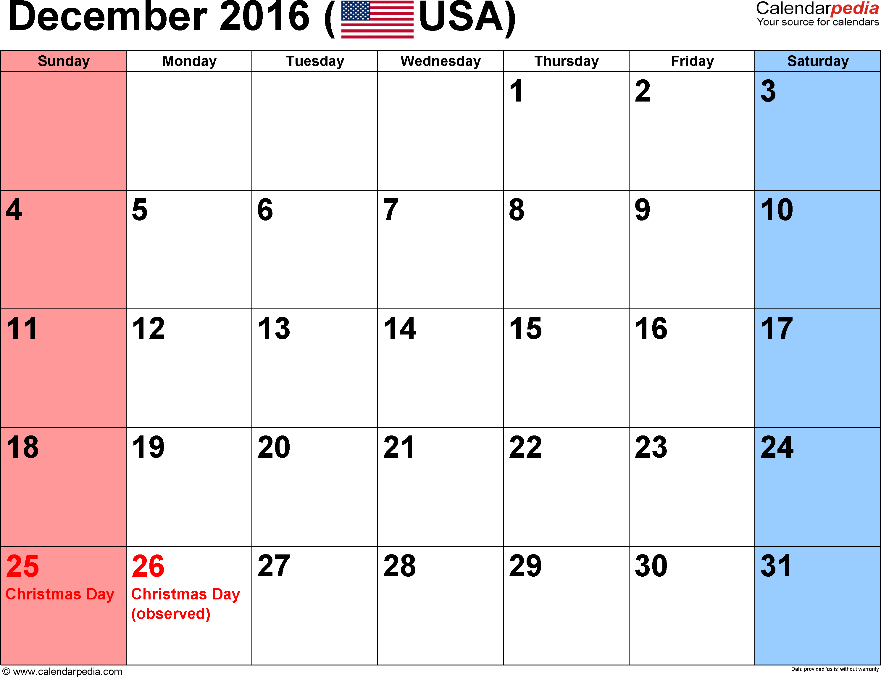 December 2016 Calendars for Word, Excel & PDF