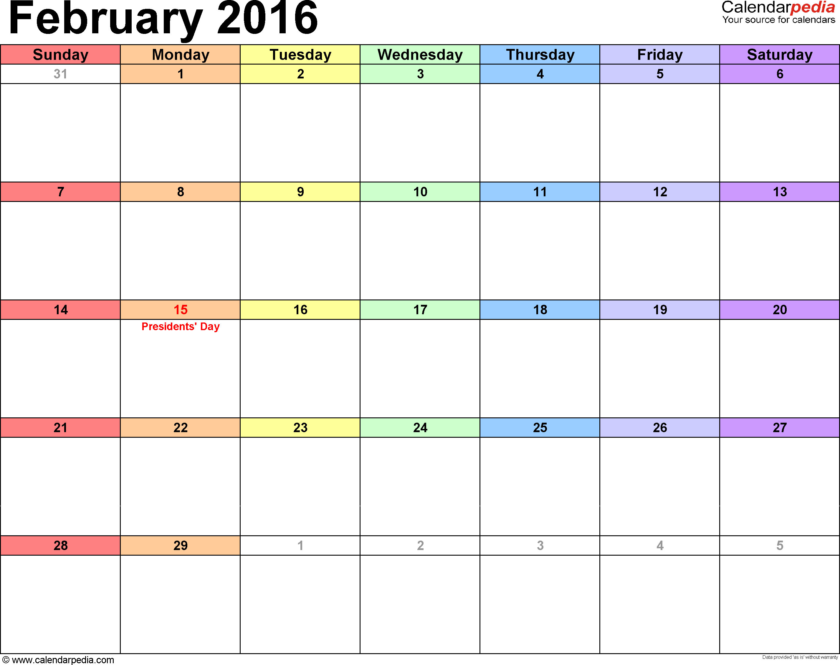 February 2016 calendar, landscape orientation, 'rainbow calendar', available as printable templates for Word, Excel and PDF