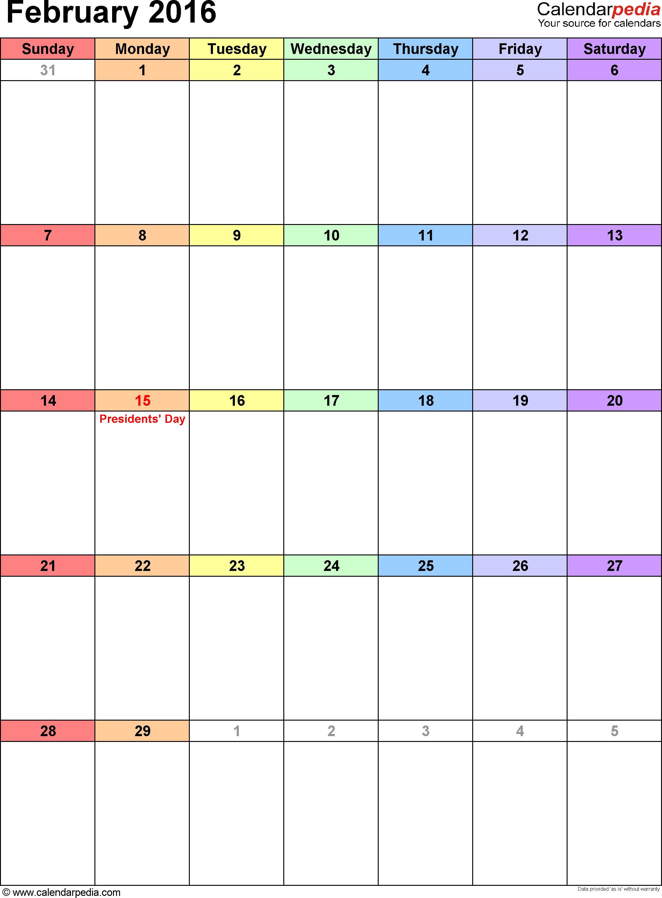 February 2016 calendar, portrait orientation, 'rainbow calendar', available as printable templates for Word, Excel and PDF