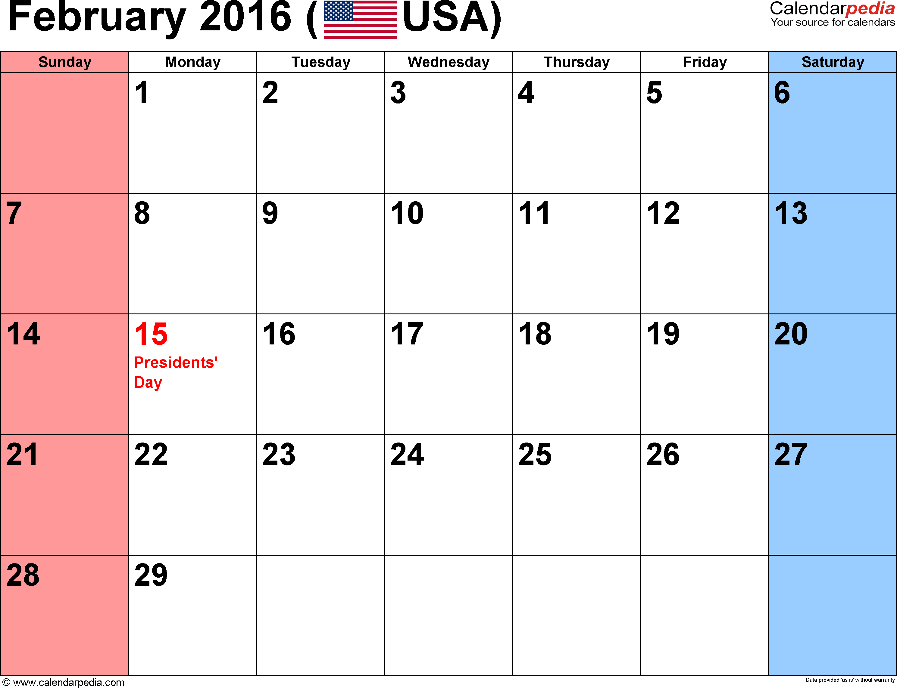 February 2016 calendar, landscape orientation, small numerals, available as printable templates for Word, Excel and PDF