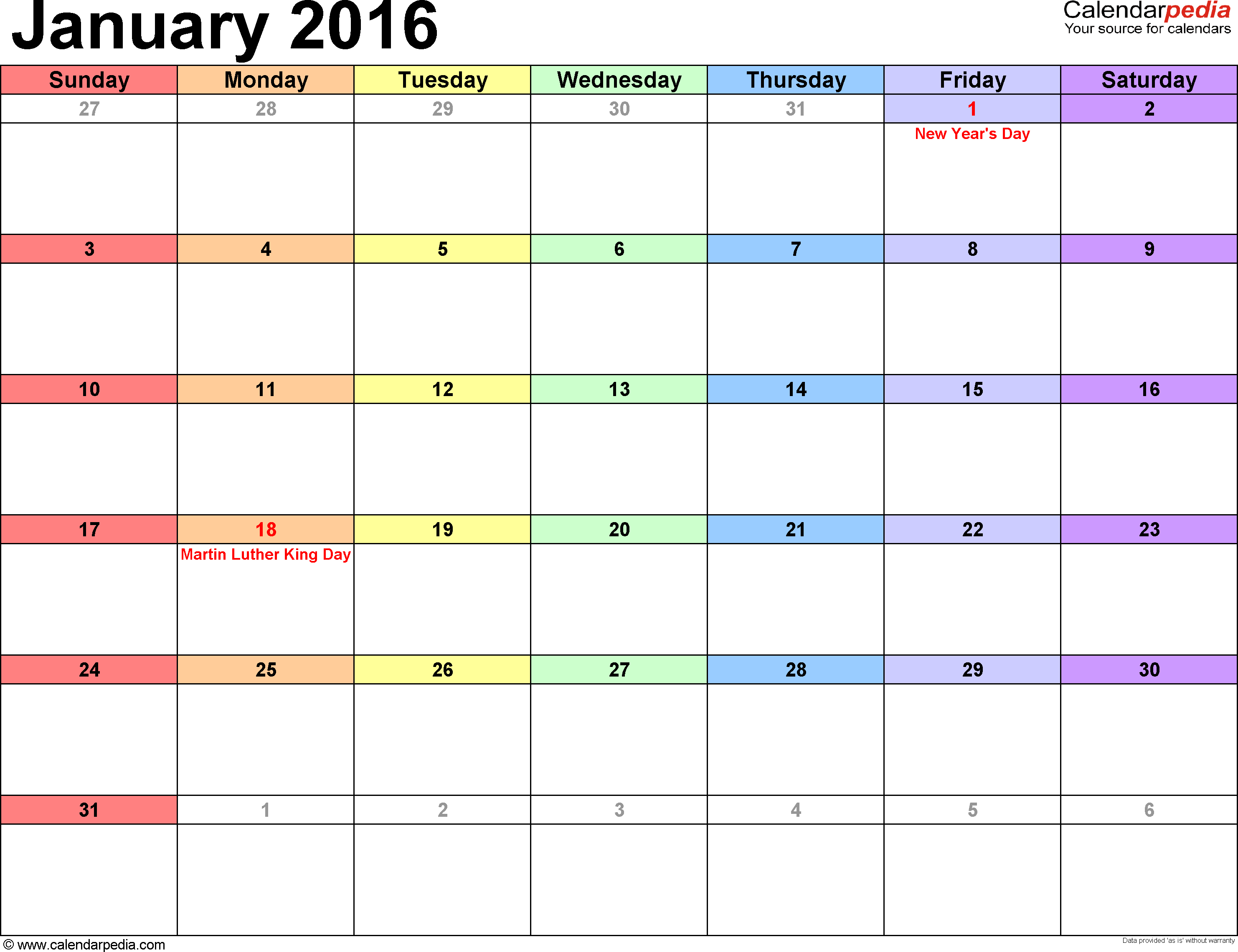 January 2016 calendar, landscape orientation, 'rainbow calendar', available as printable templates for Word, Excel and PDF