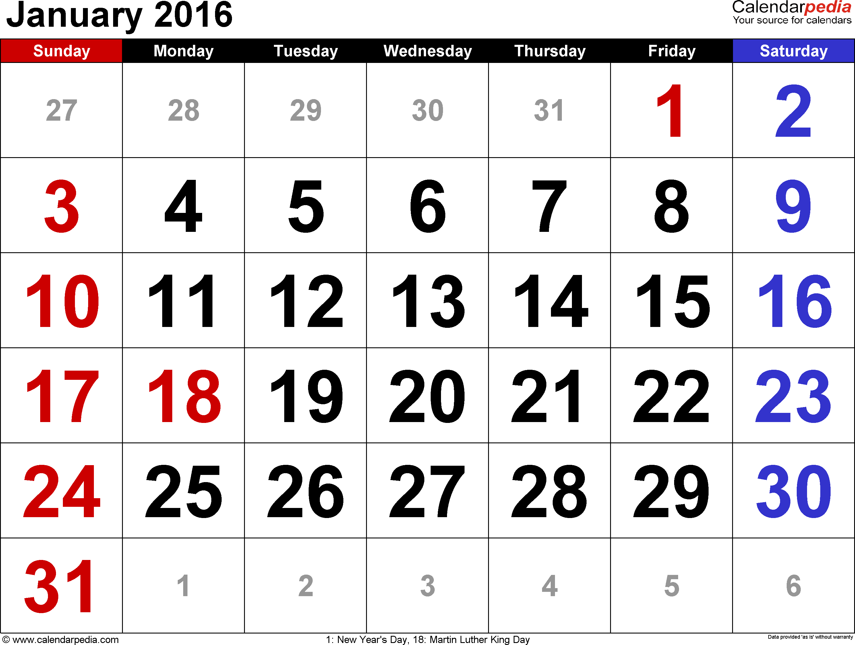 January 2016 calendar, landscape orientation, large numerals, available as printable templates for Word, Excel and PDF