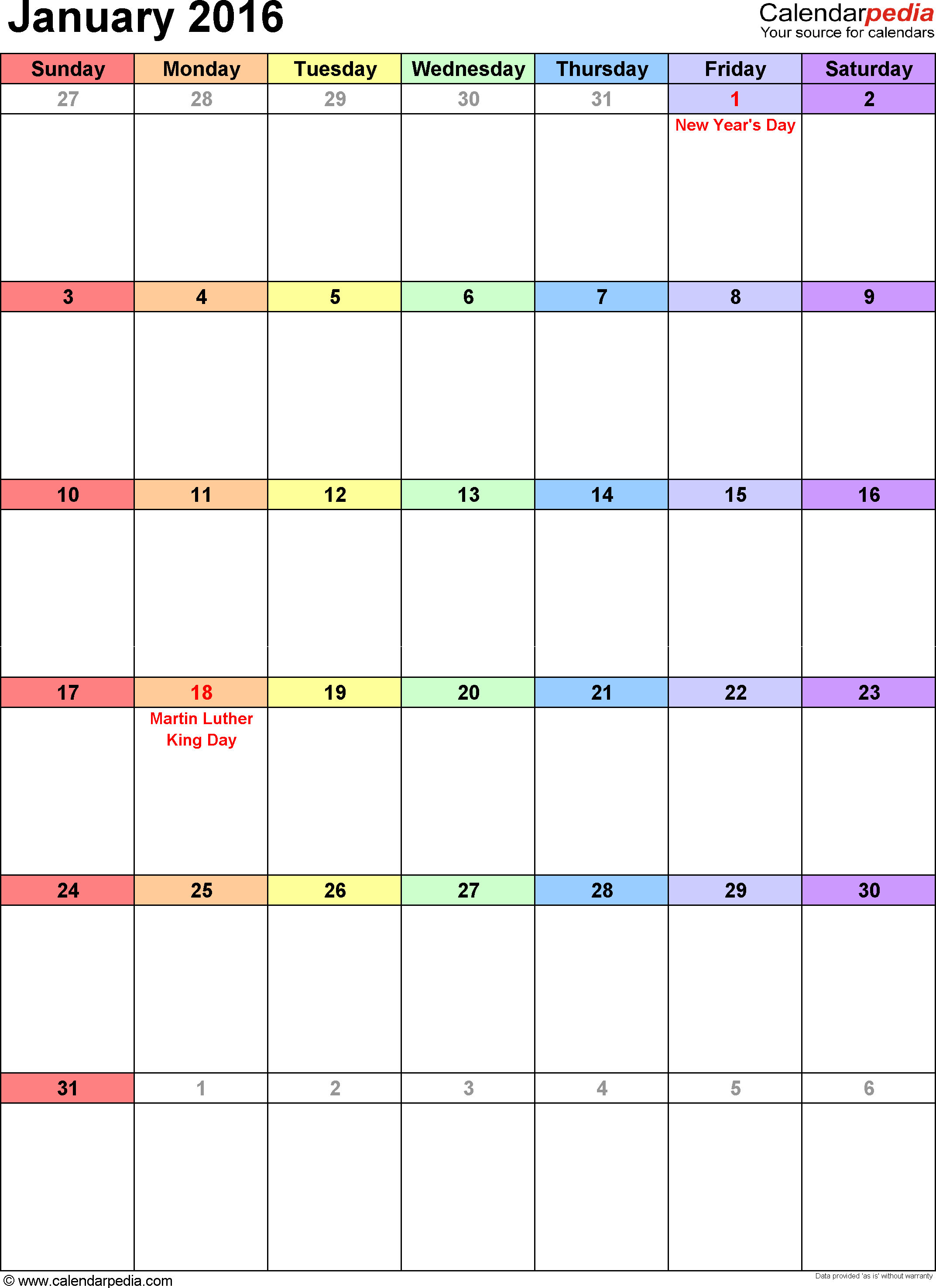 January 2016 calendar as printable Word, Excel & PDF templates