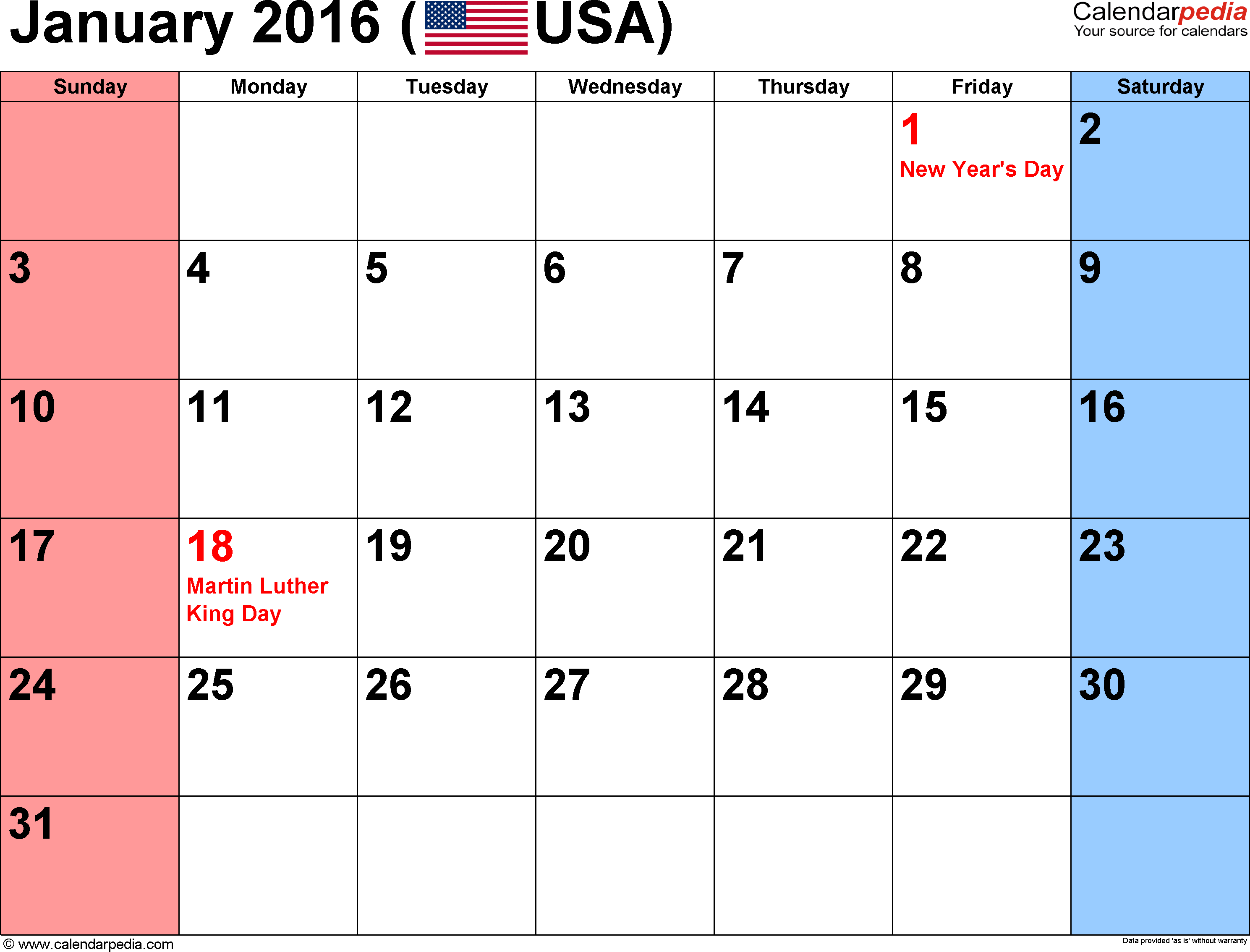 January 2016 calendar, landscape orientation, small numerals, available as printable templates for Word, Excel and PDF