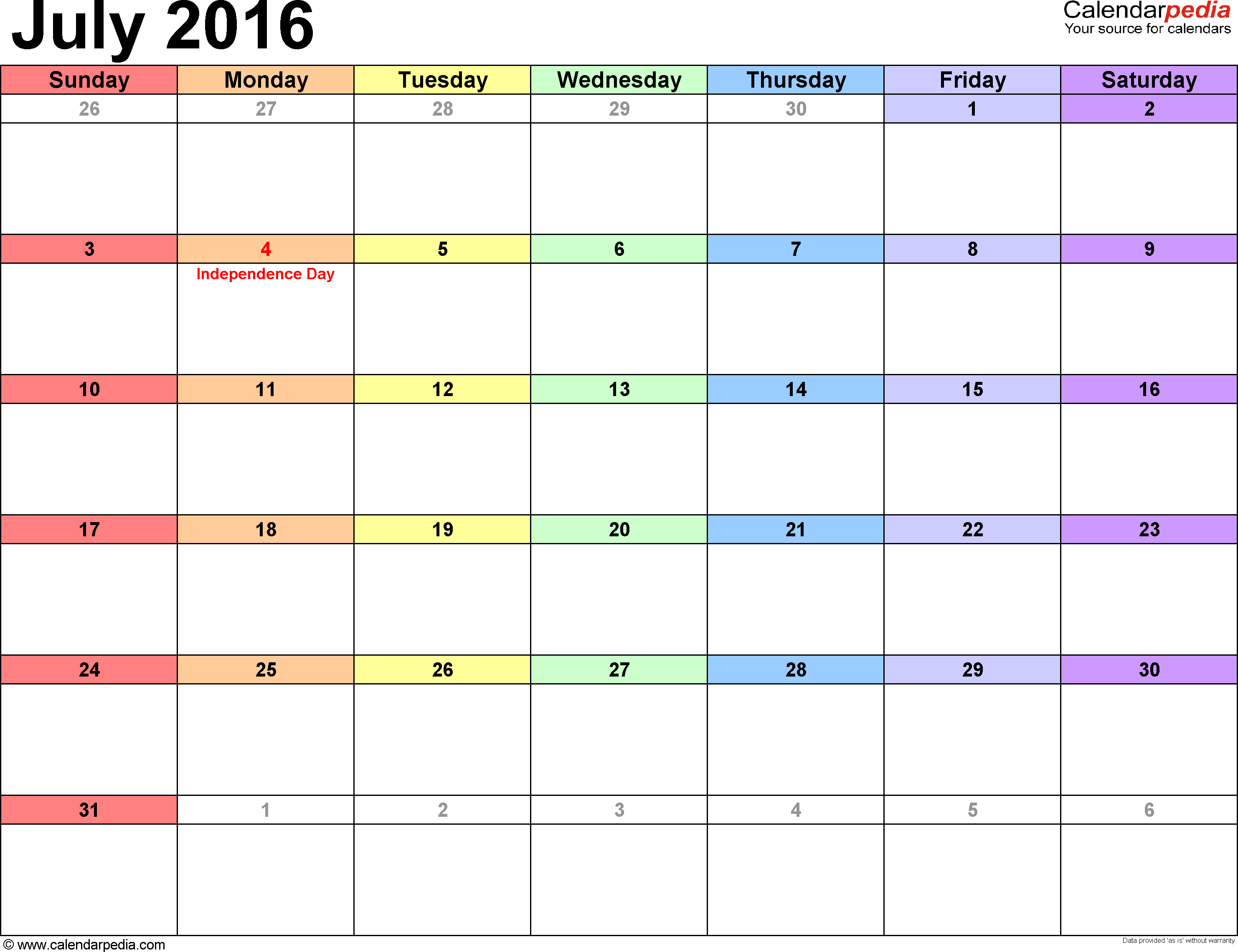 July 2016 calendar, landscape orientation, 'rainbow calendar', available as printable templates for Word, Excel and PDF