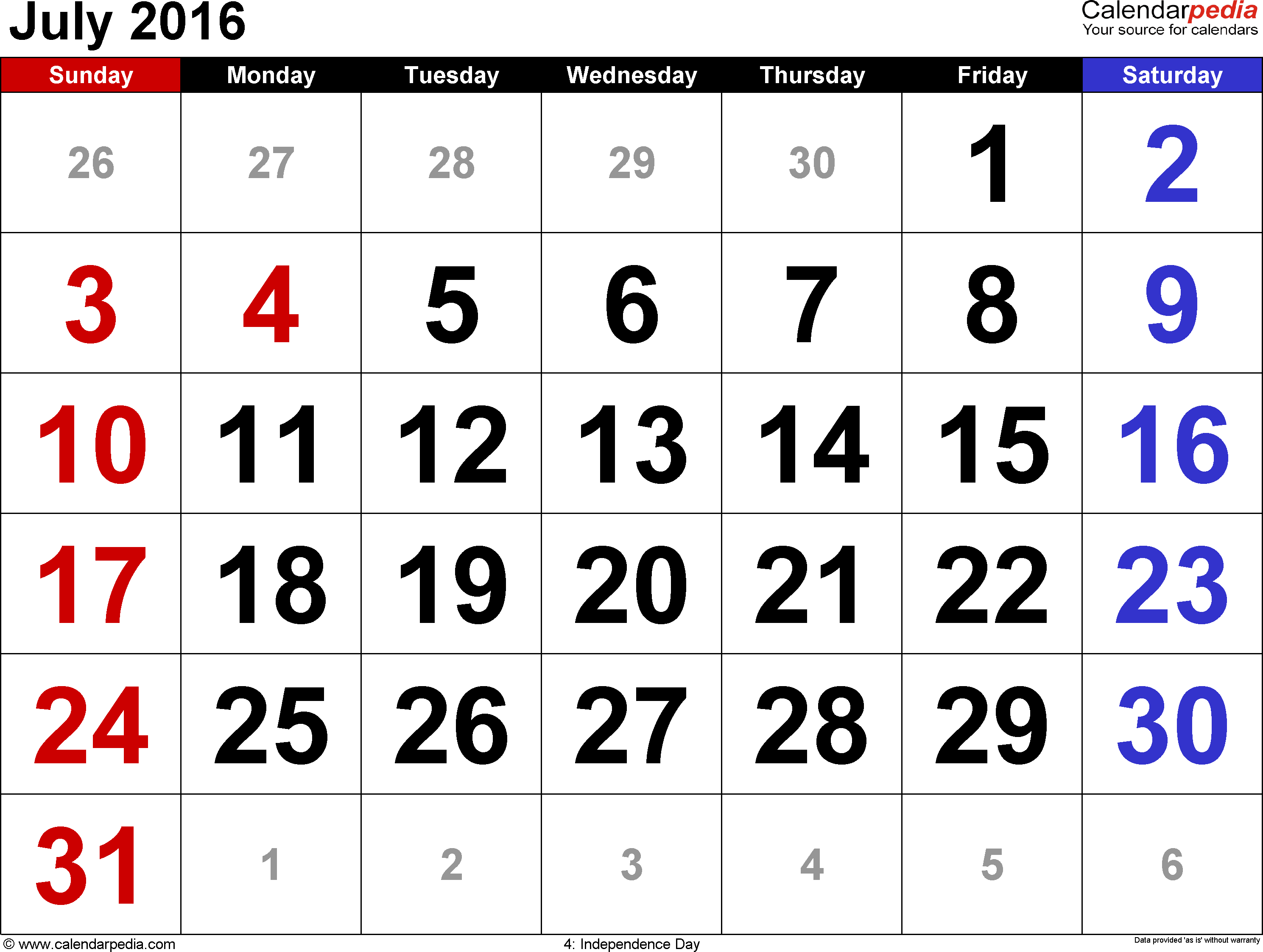 July 2016 calendar, landscape orientation, large numerals, available as printable templates for Word, Excel and PDF