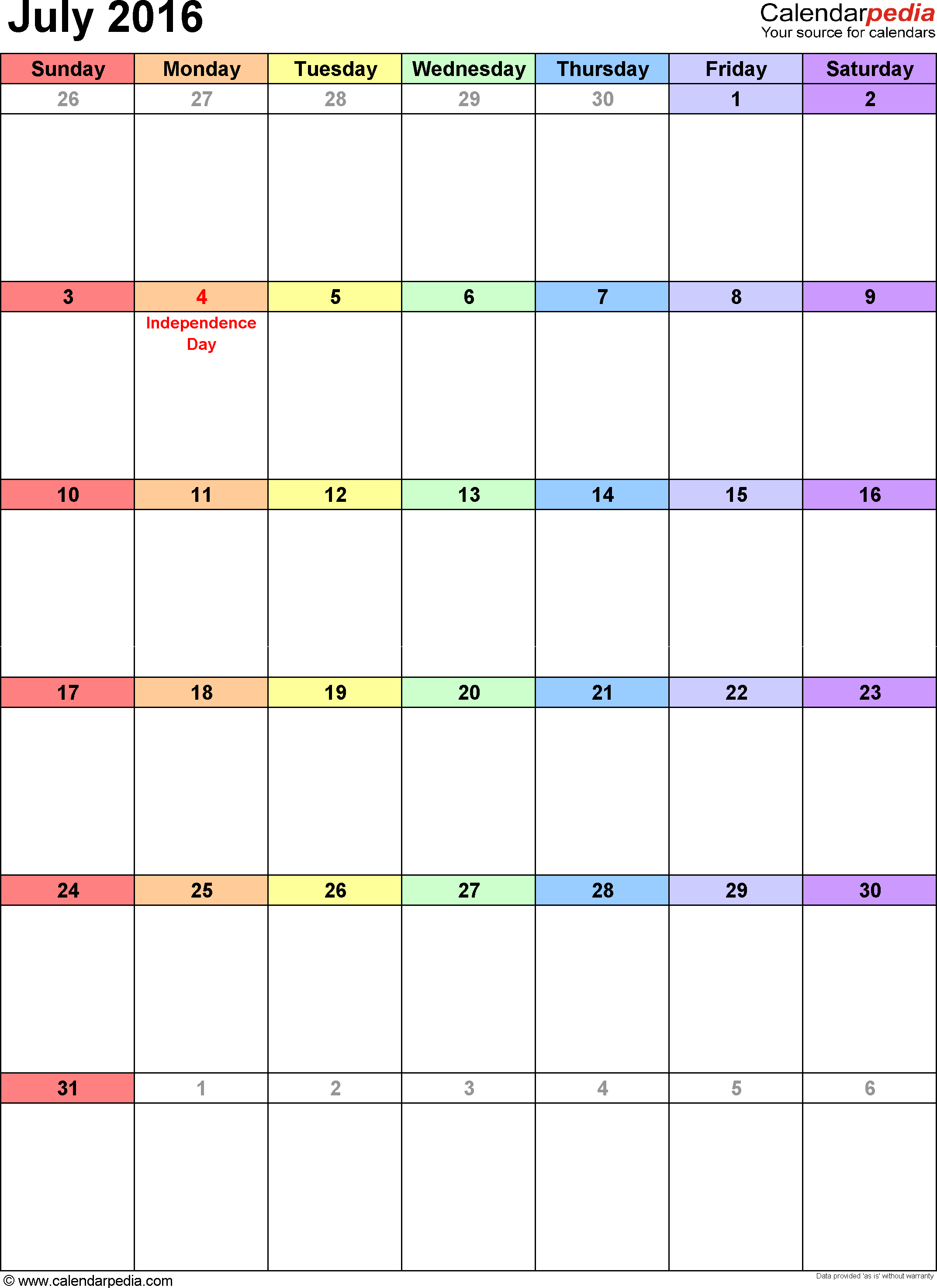 July 2016 calendar, portrait orientation, 'rainbow calendar', available as printable templates for Word, Excel and PDF