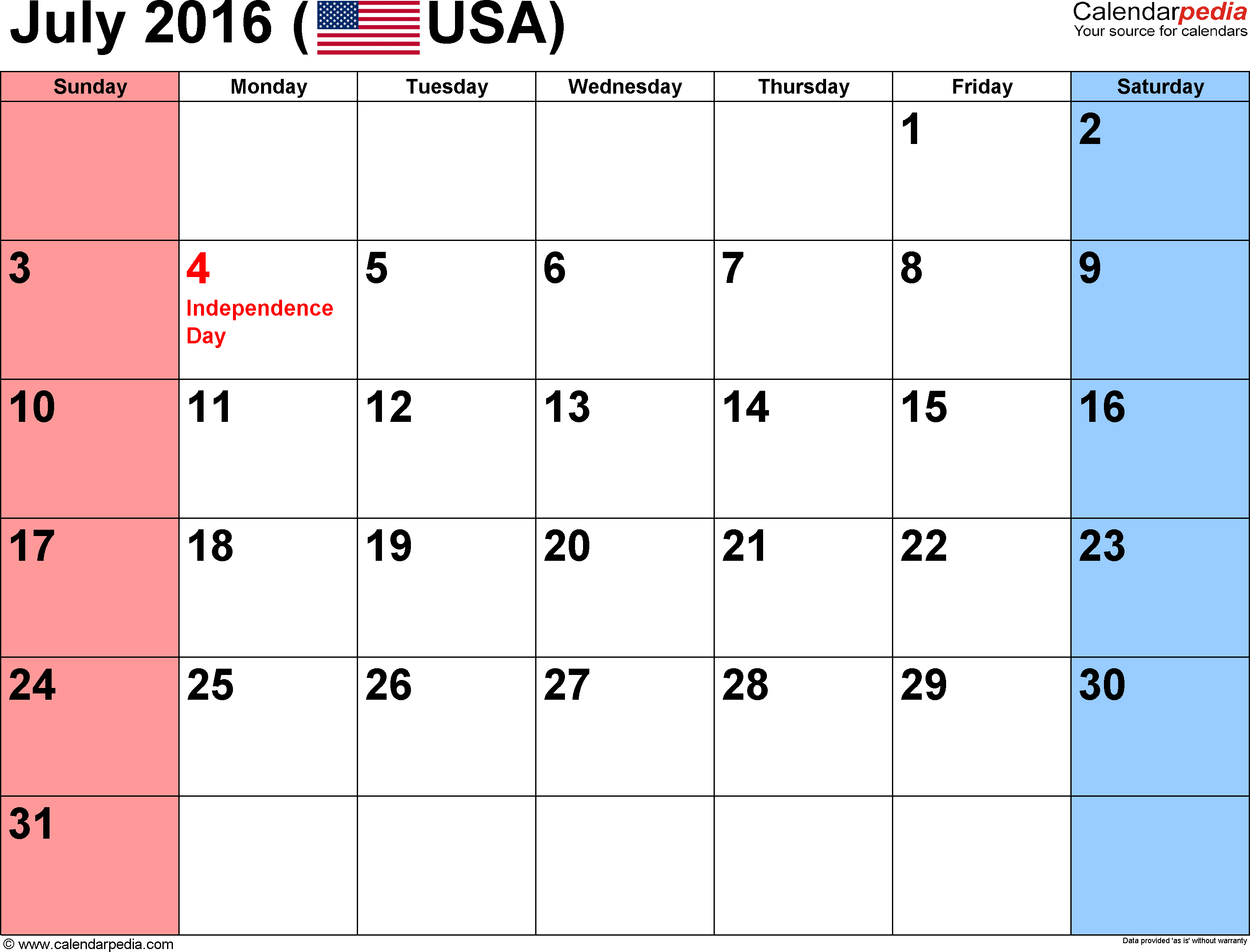 july 2016 calendar with holidays usa uk canada