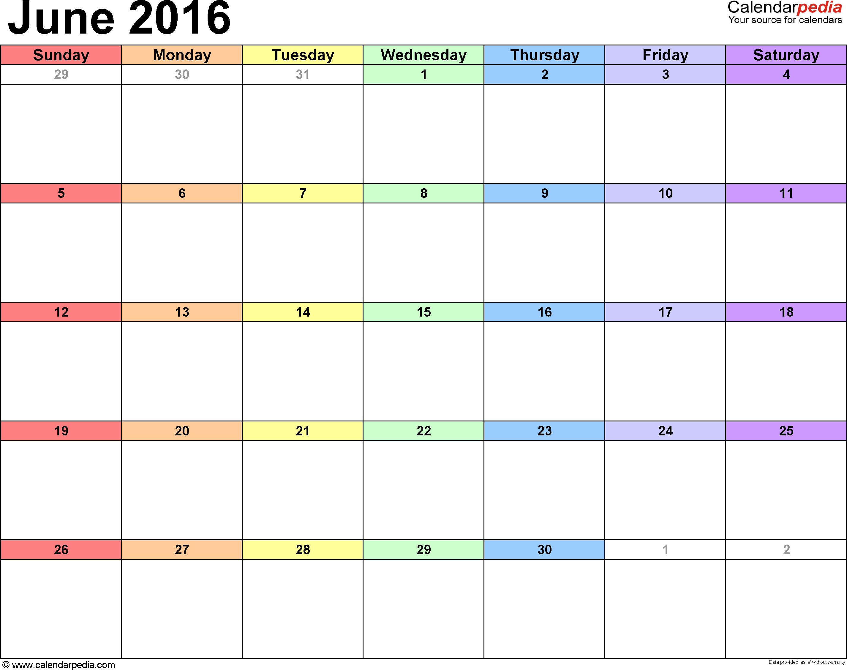 June 2016 calendar printable template