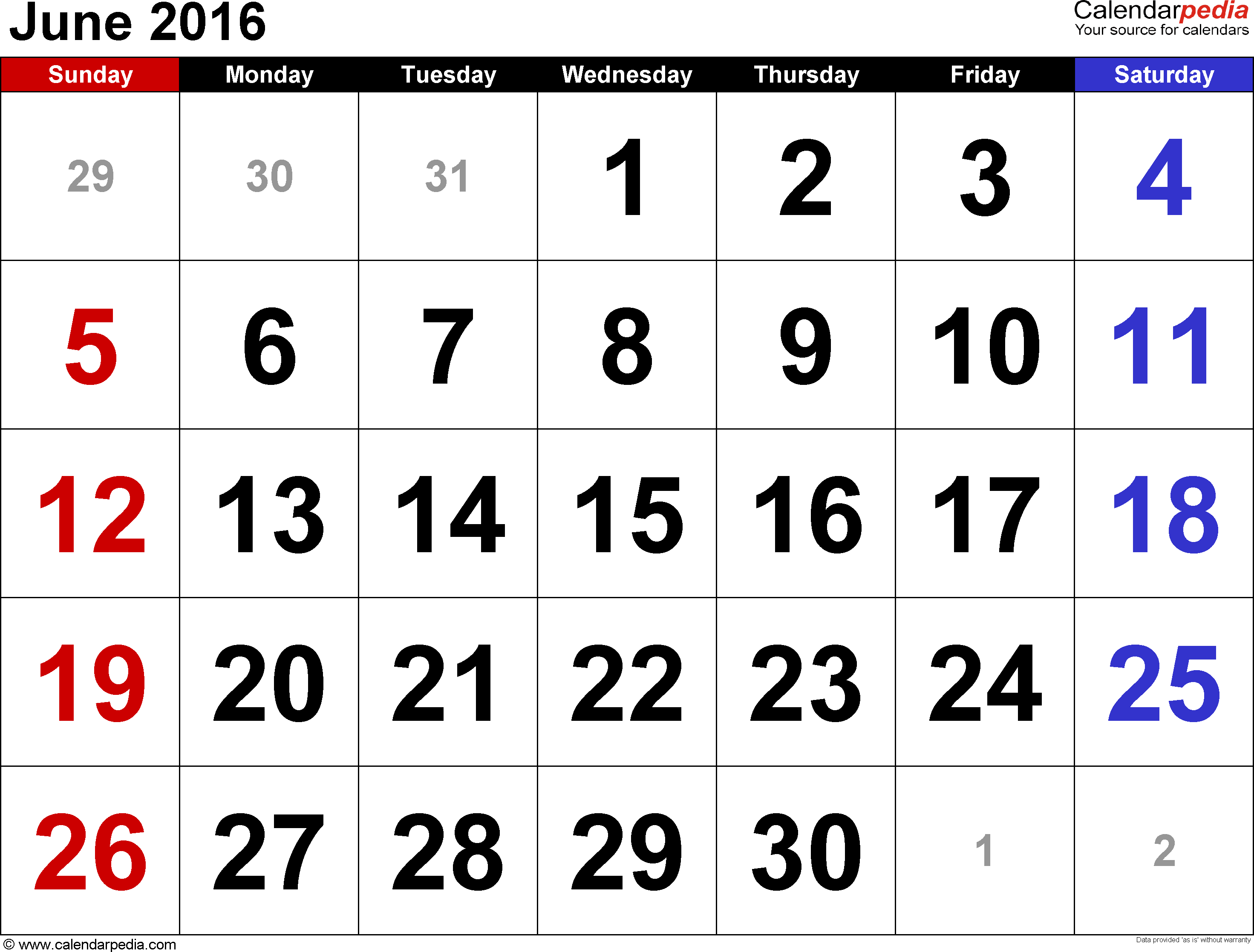 June 2016 calendar, landscape orientation, large numerals, available as printable templates for Word, Excel and PDF