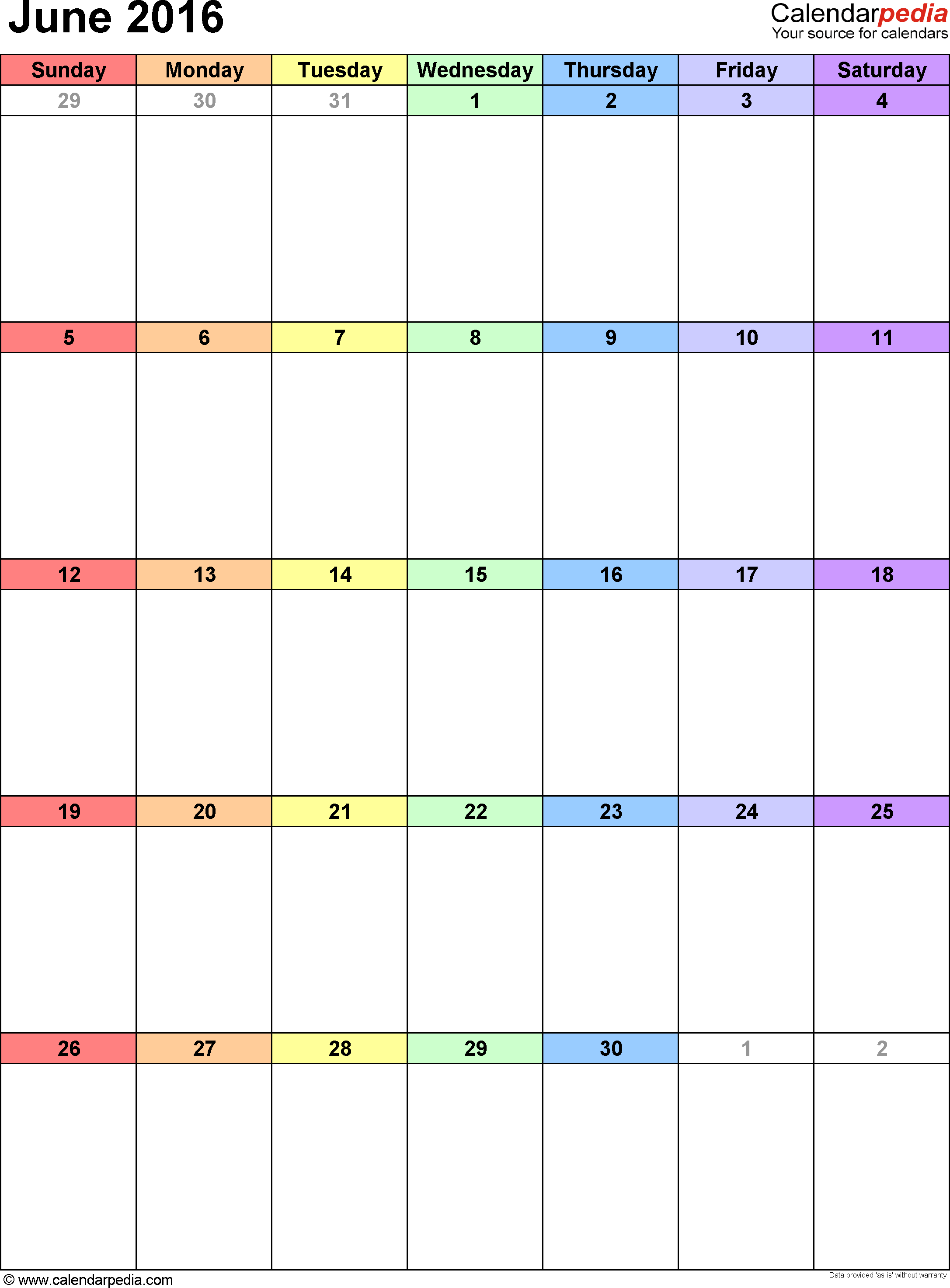 June 2016 calendar as printable Word, Excel & PDF templates