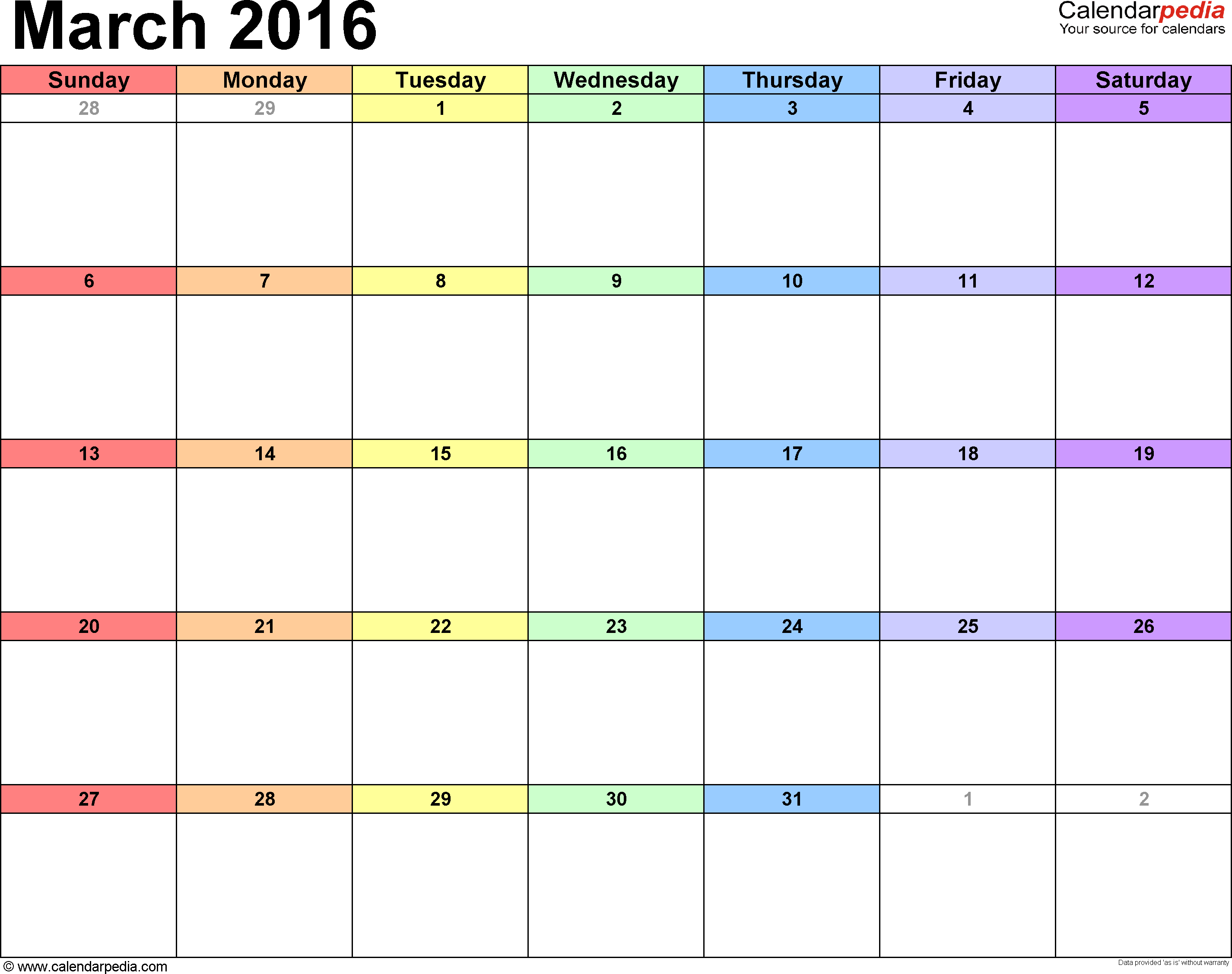 Calendar templates March 2016 in landscape format