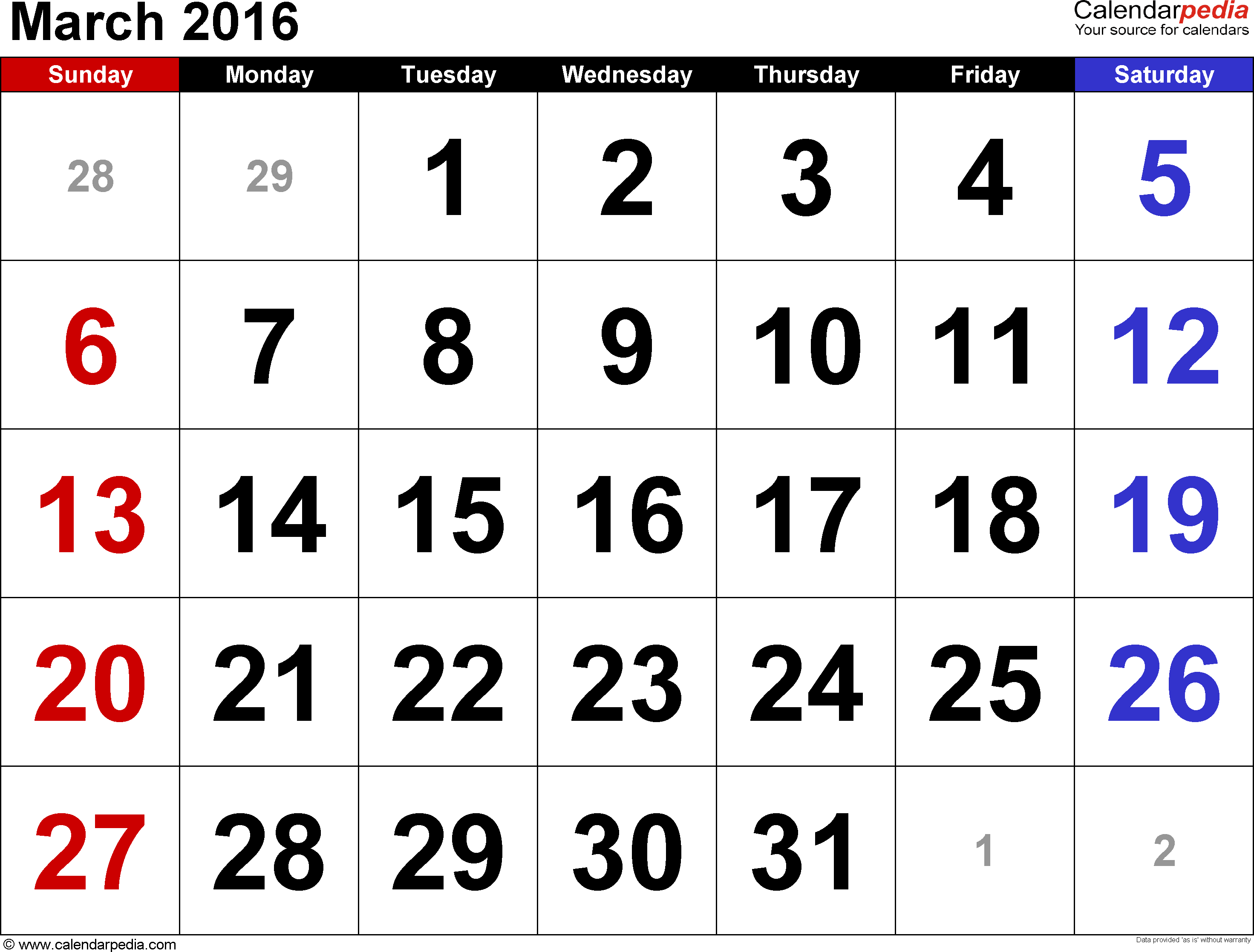March 2016 calendar, landscape orientation, large numerals, available as printable templates for Word, Excel and PDF