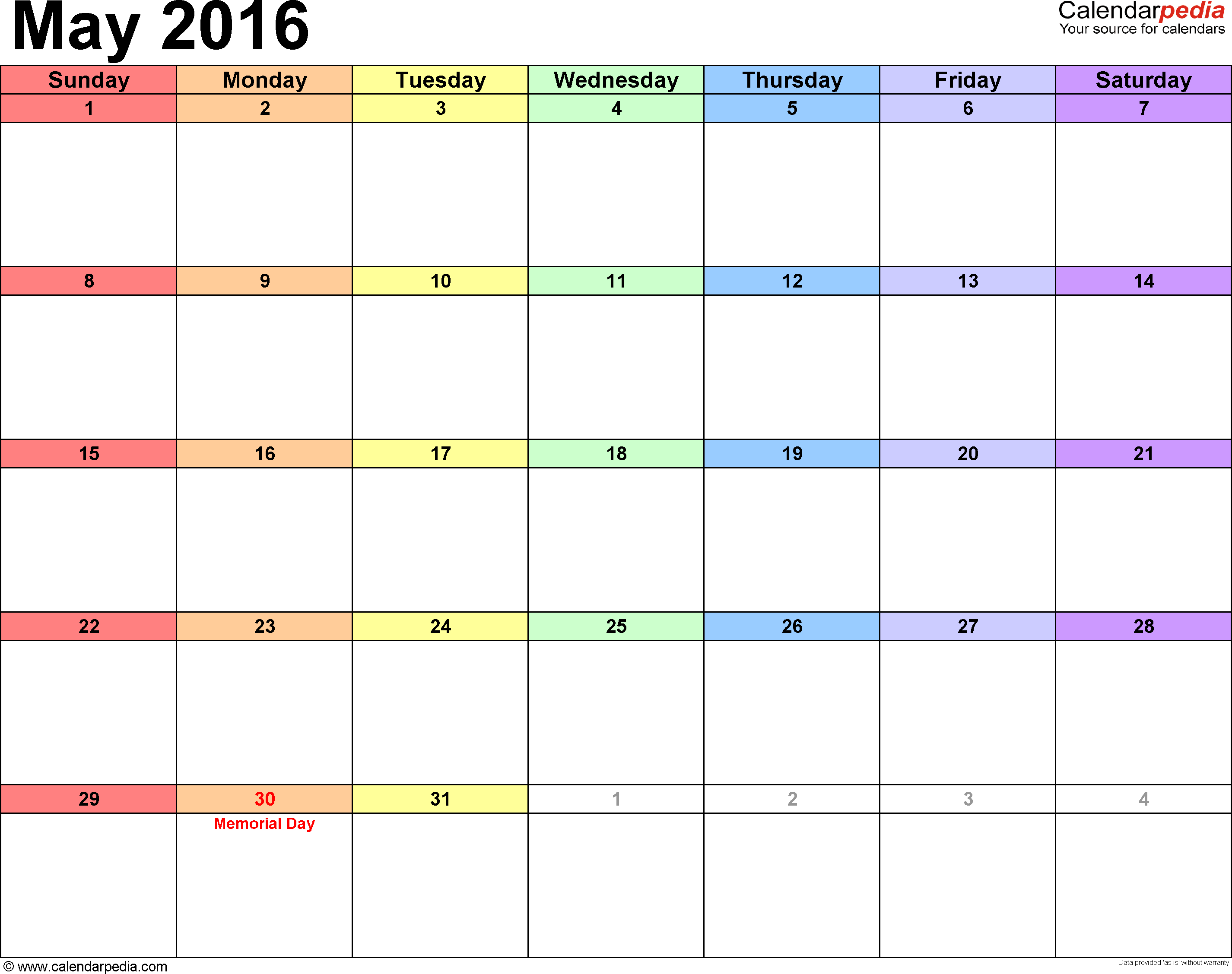 May 2016 calendar, landscape orientation, 'rainbow calendar', available as printable templates for Word, Excel and PDF
