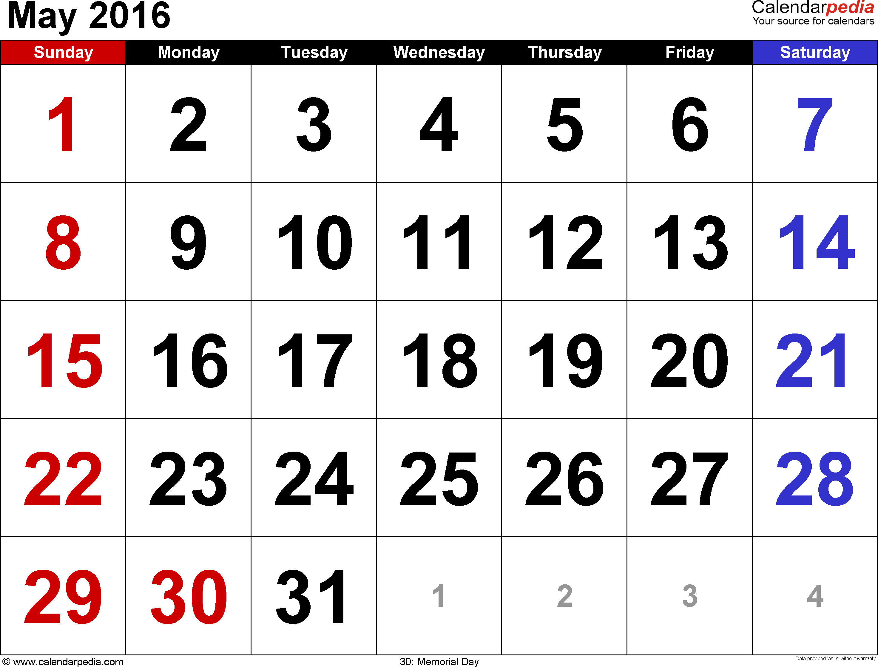 May 2016 calendar, landscape orientation, large numerals, available as printable templates for Word, Excel and PDF