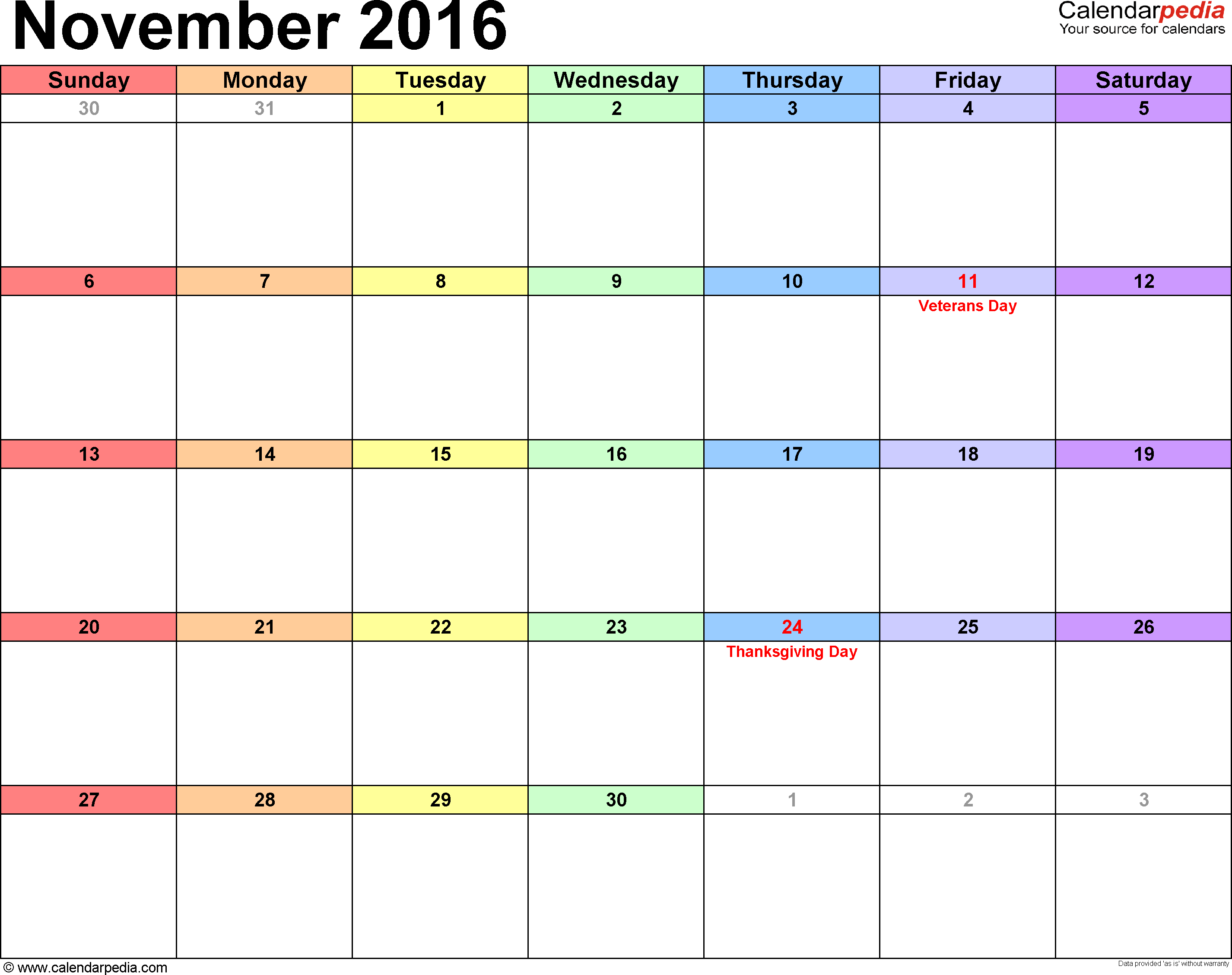 November 2016 calendar, landscape orientation, 'rainbow calendar', available as printable templates for Word, Excel and PDF