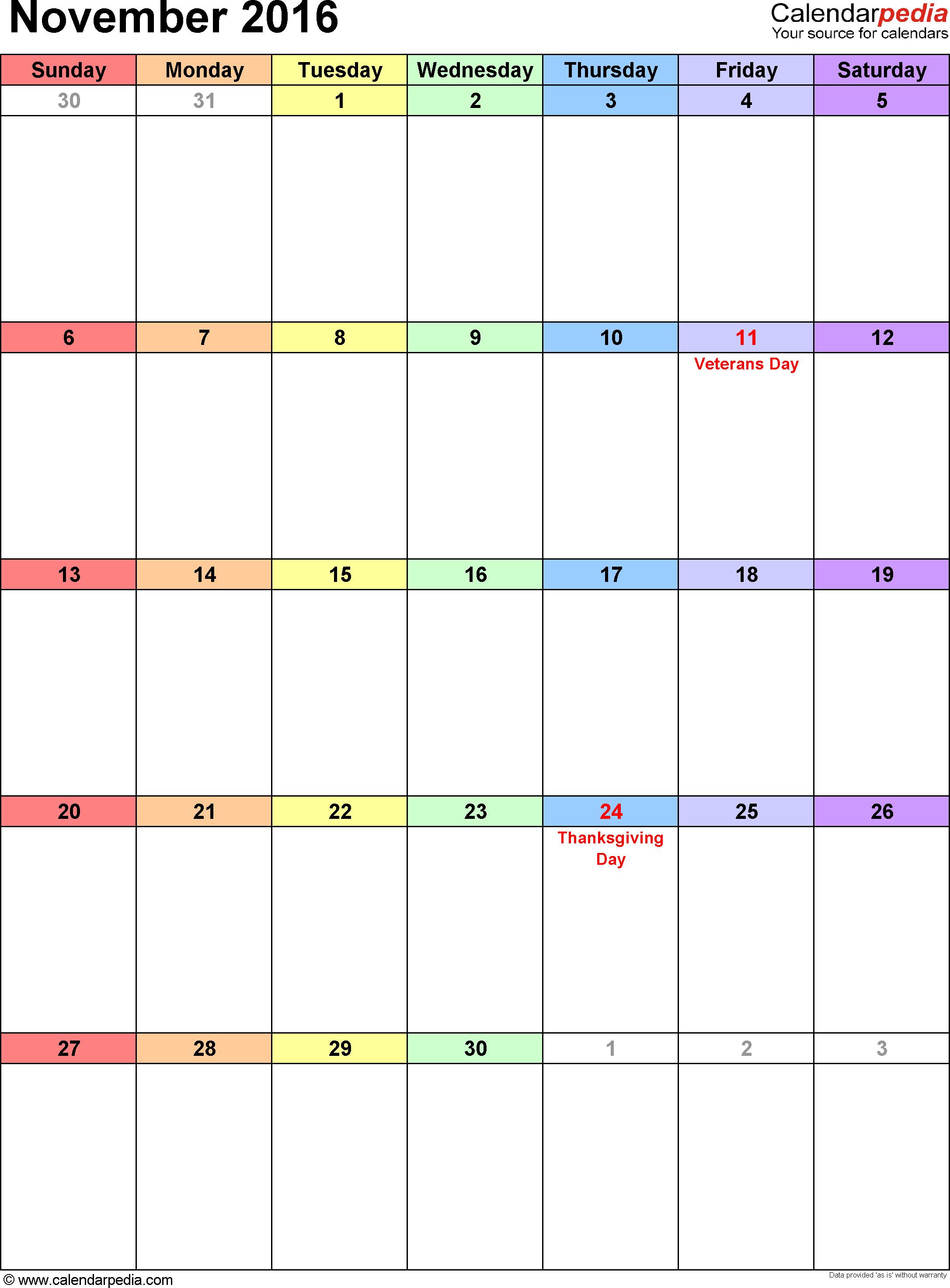 November 2016 calendar, portrait orientation, 'rainbow calendar', available as printable templates for Word, Excel and PDF