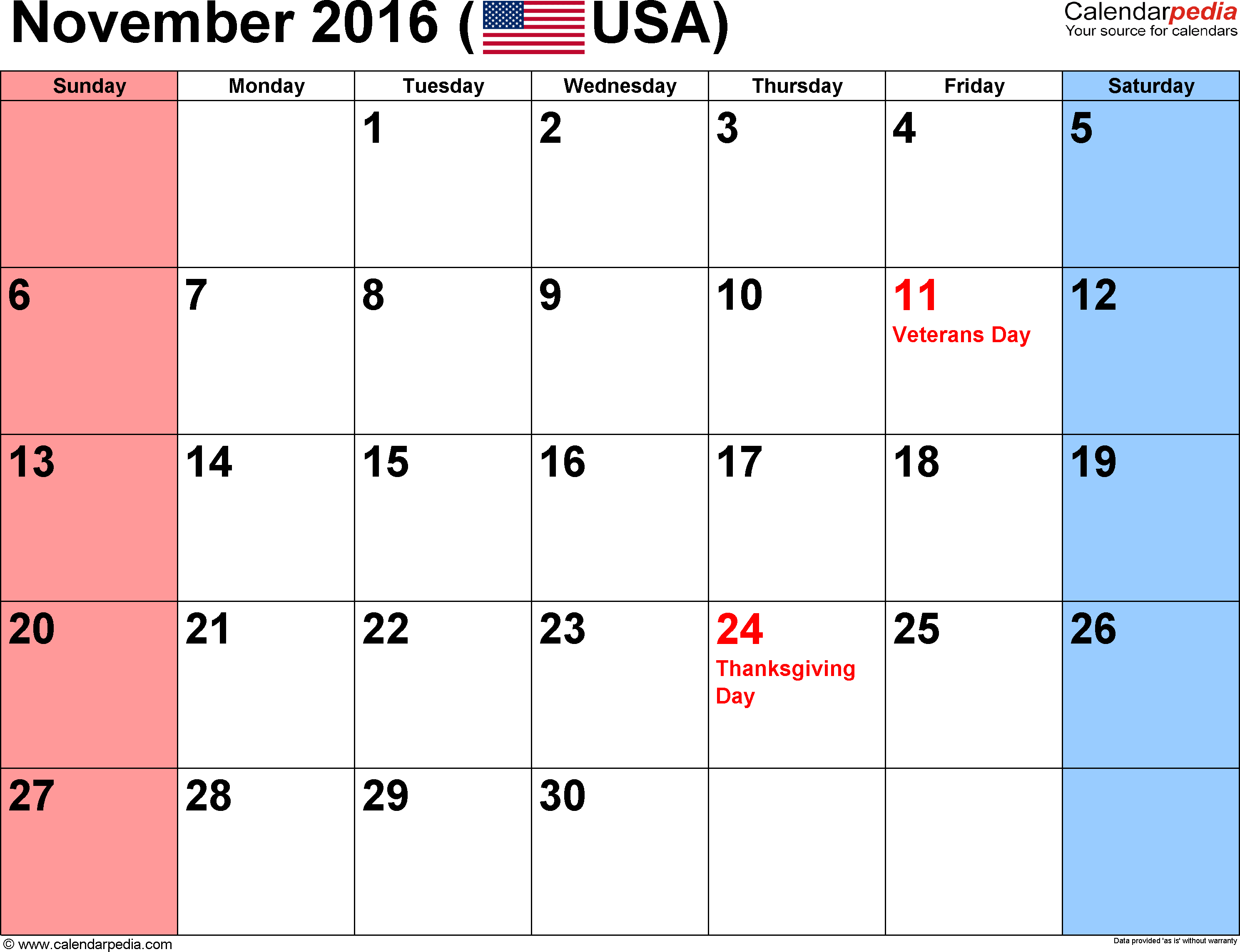November Calendar 2016 : November calendars for word excel pdf