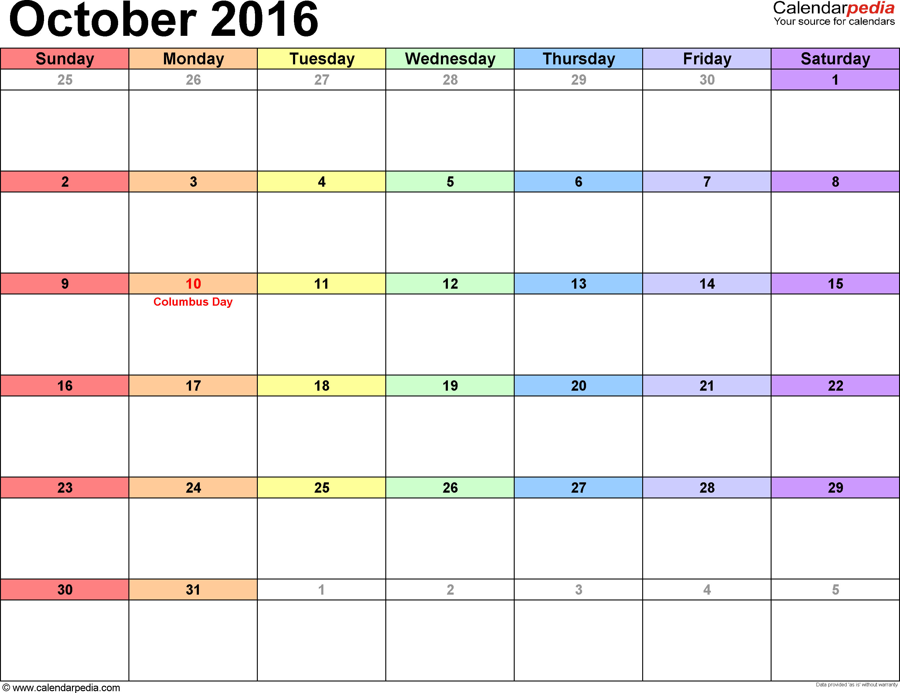 October 2016 calendar, landscape orientation, 'rainbow calendar', available as printable templates for Word, Excel and PDF
