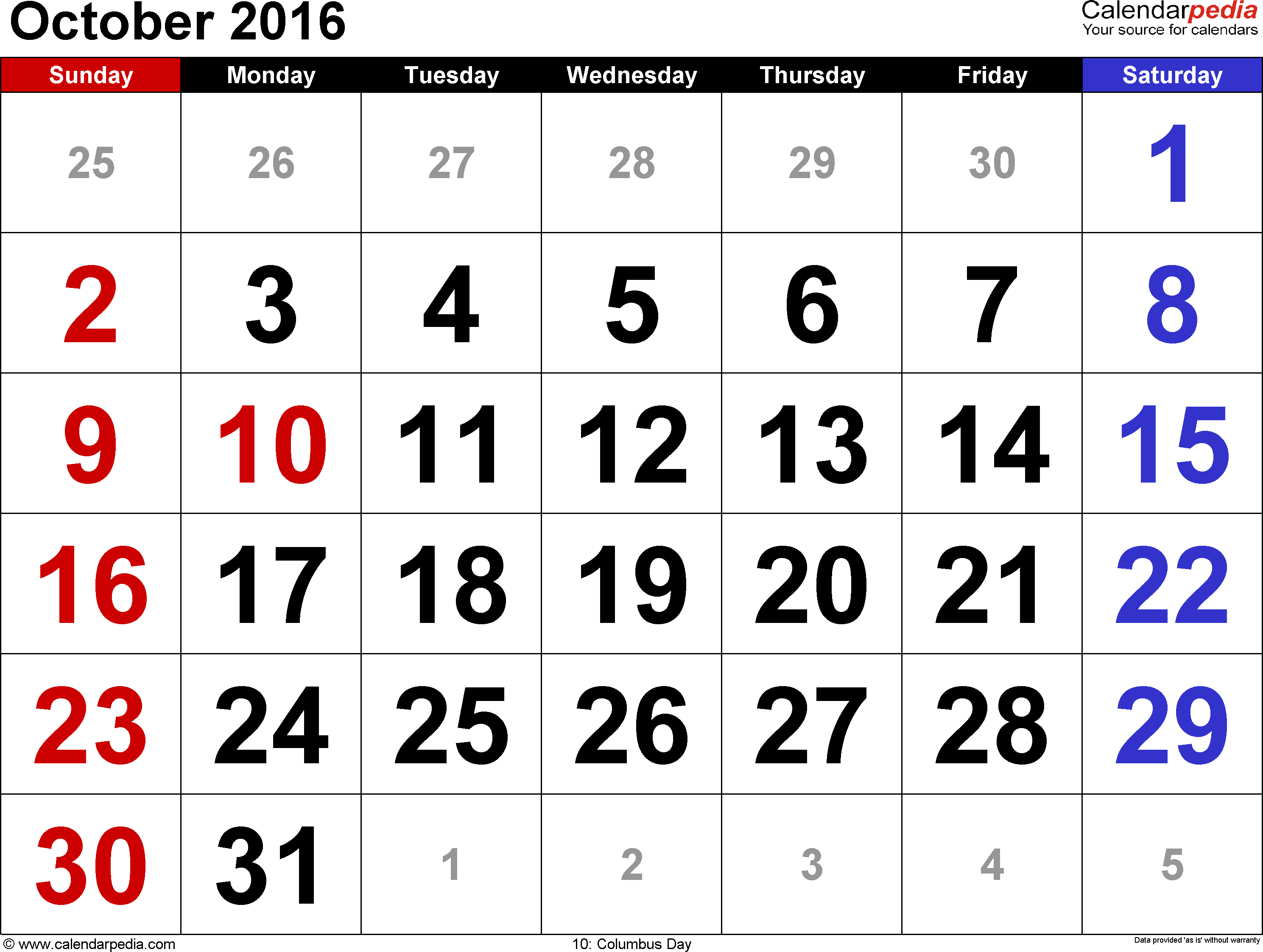 October 2016 calendar, landscape orientation, large numerals, available as printable templates for Word, Excel and PDF