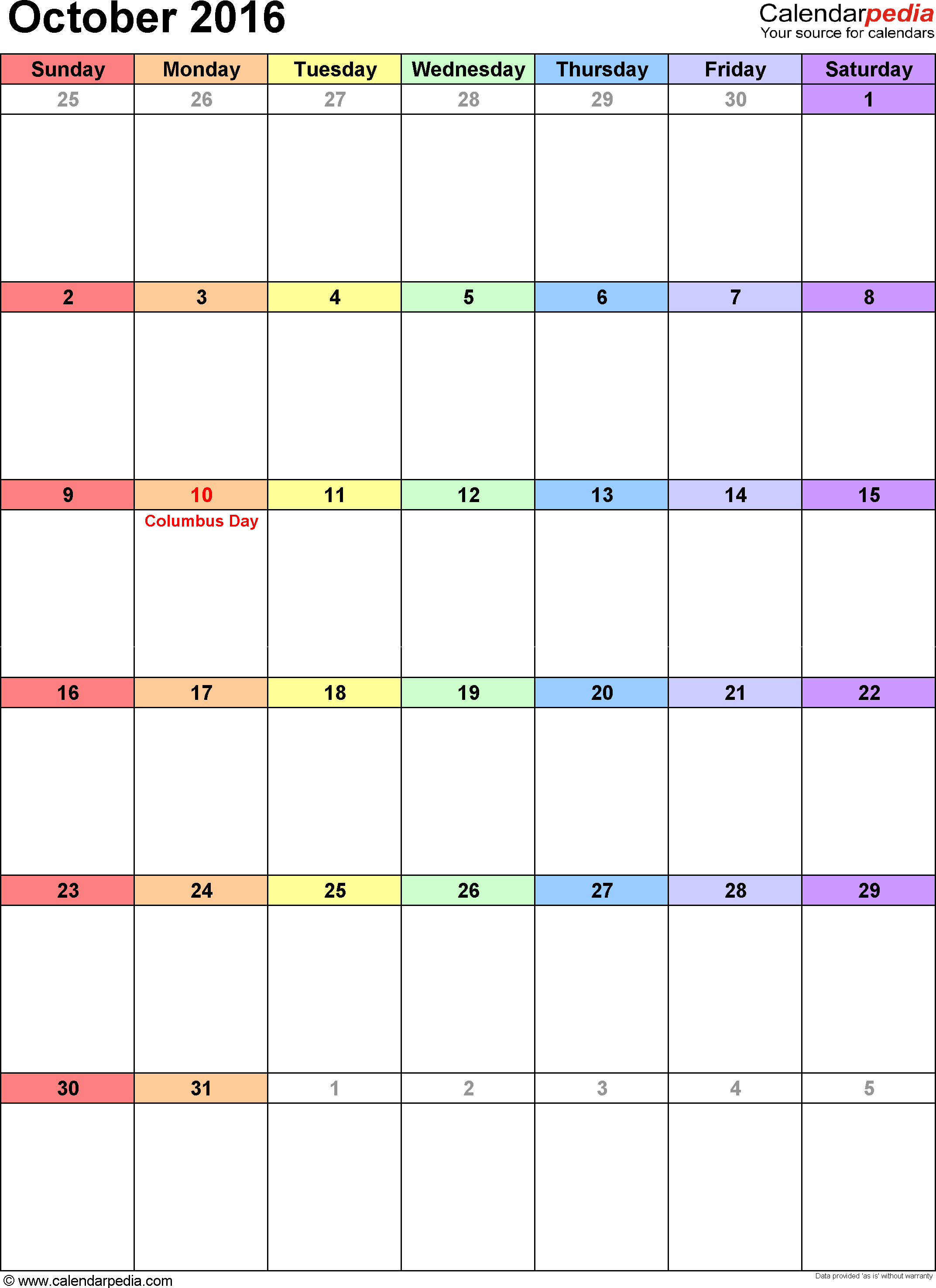 October 2016 calendar as printable Word, Excel & PDF templates