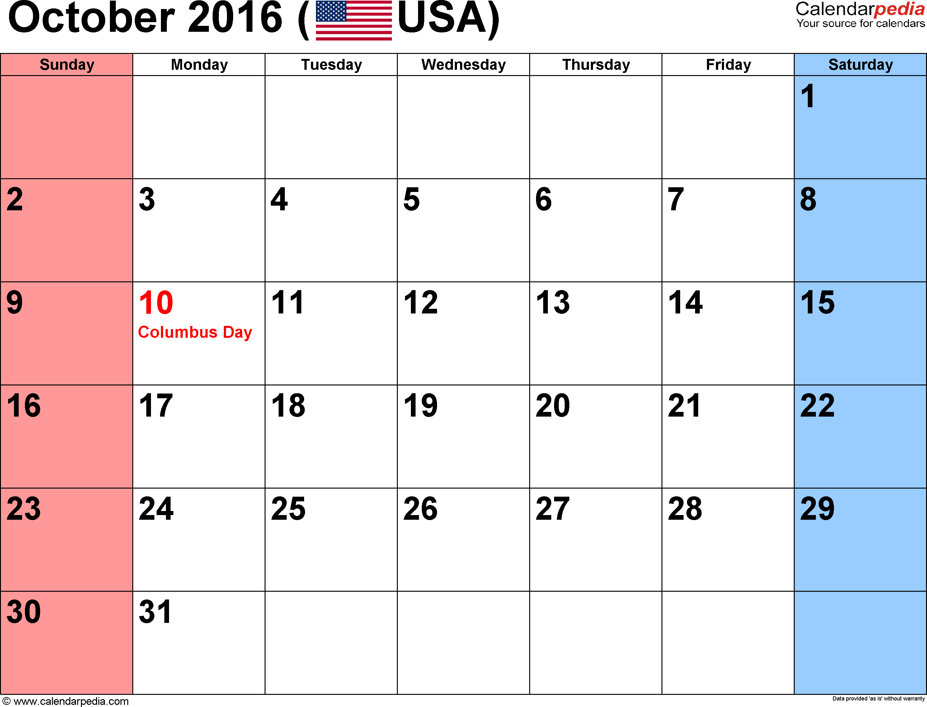 October 2016 calendar, landscape orientation, small numerals, available as printable templates for Word, Excel and PDF