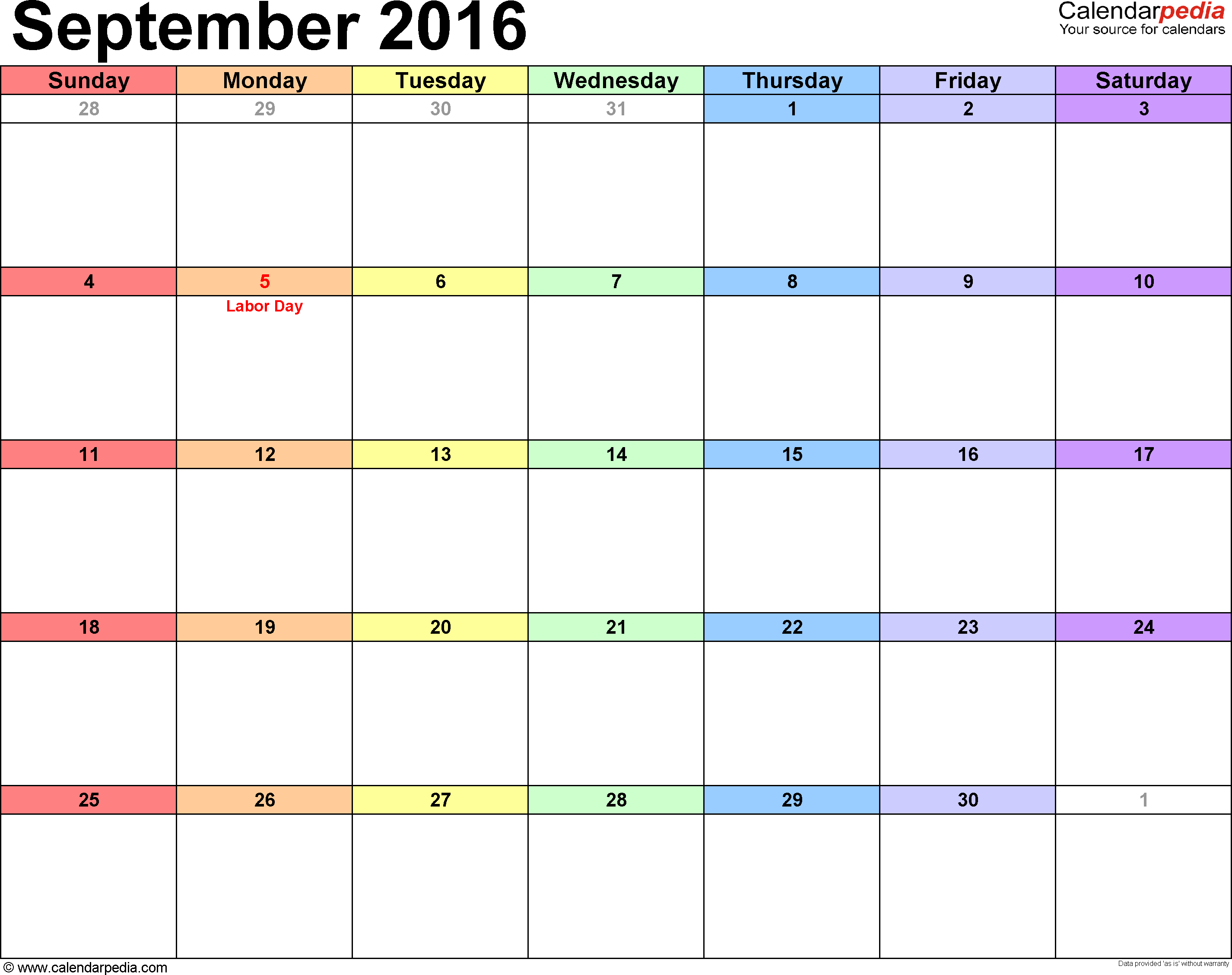September 2016 calendar, landscape orientation, 'rainbow calendar', available as printable templates for Word, Excel and PDF