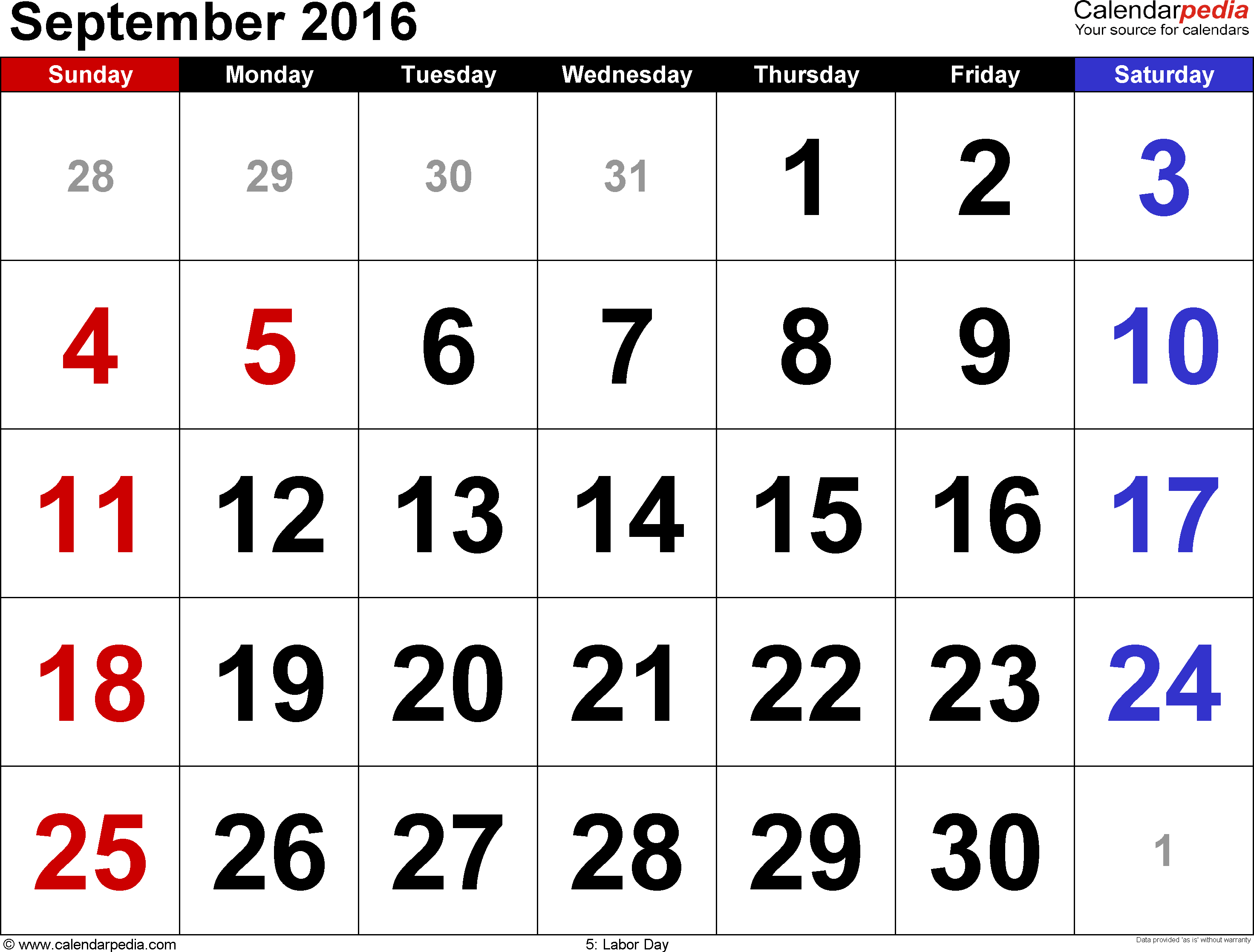 September 2016 calendar, landscape orientation, large numerals, available as printable templates for Word, Excel and PDF