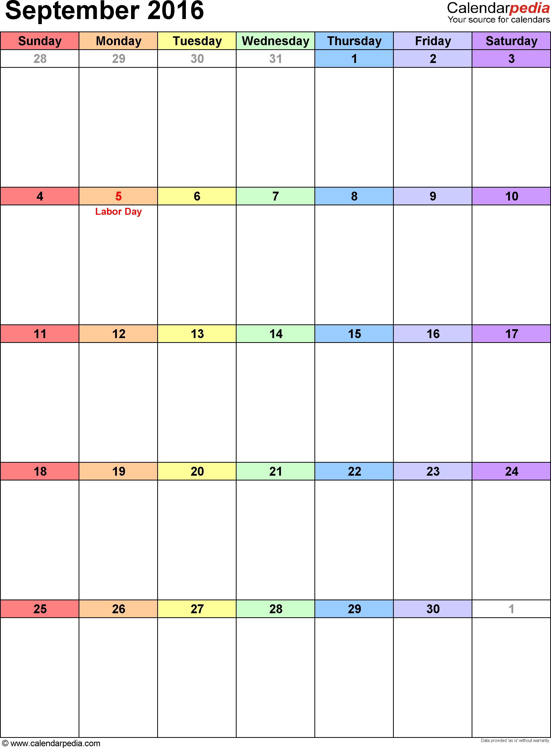 September 2016 calendar, portrait orientation, 'rainbow calendar', available as printable templates for Word, Excel and PDF