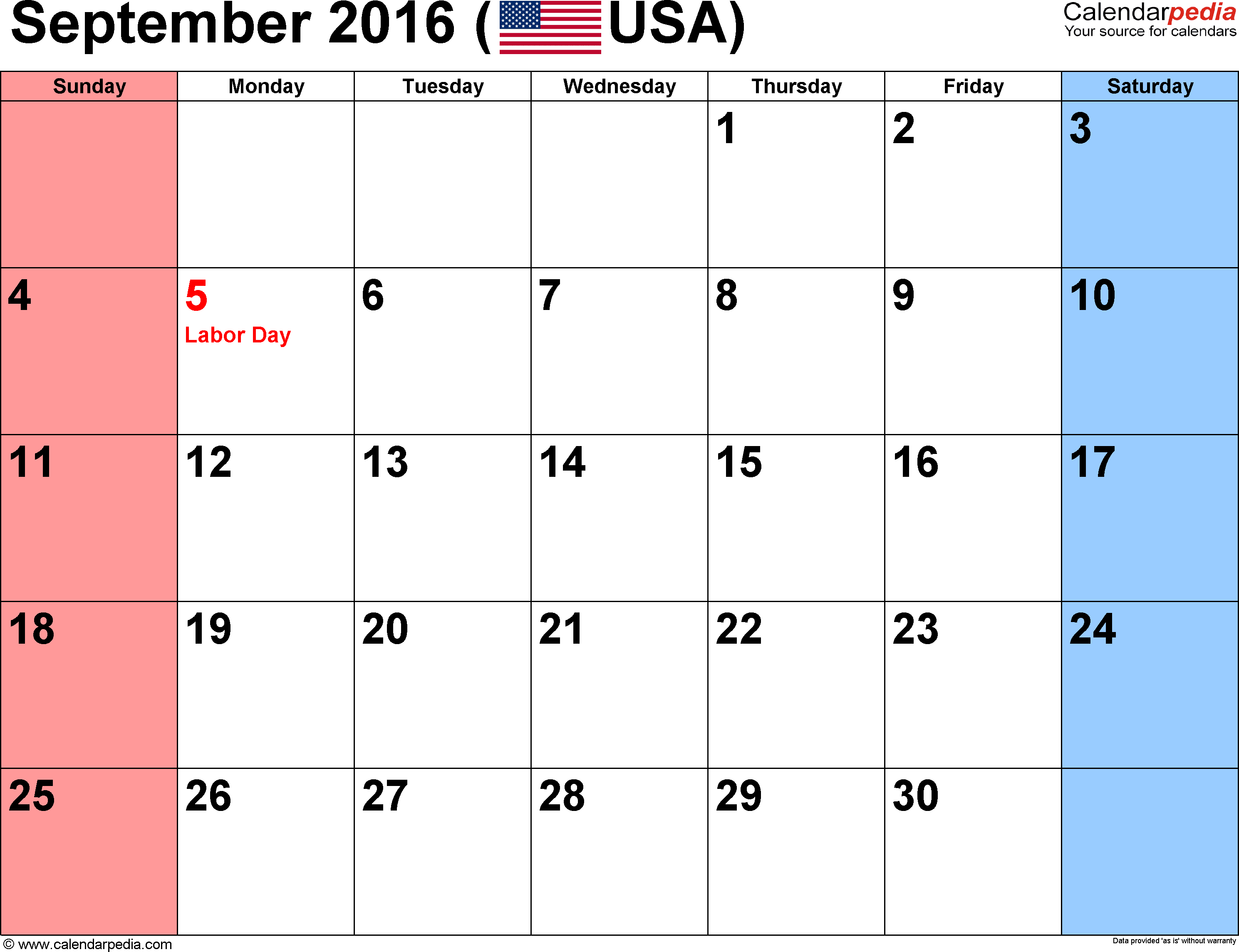 September 2016 Calendars for Word, Excel & PDF